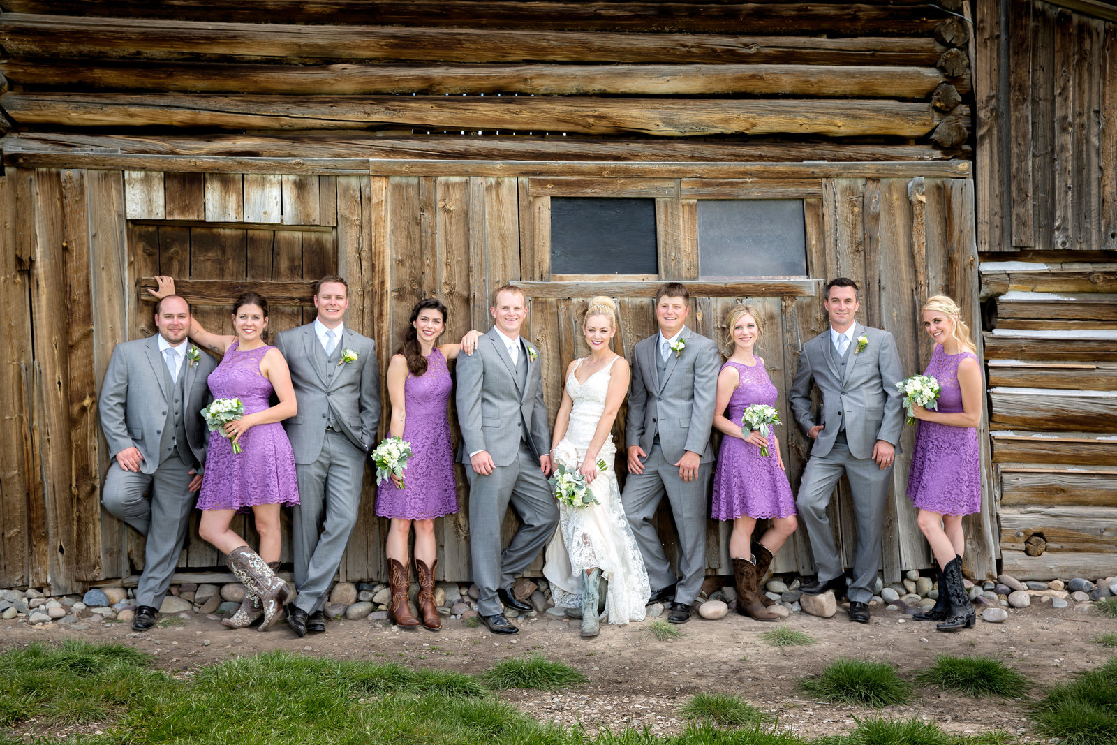 Bridal party at Moulton Barn in Grand Targhee National Park