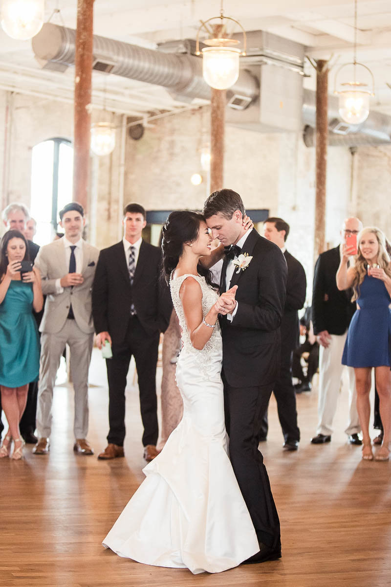 Bride and groom have first dance, The Cedar Room, Charleston Wedding Photographer.
