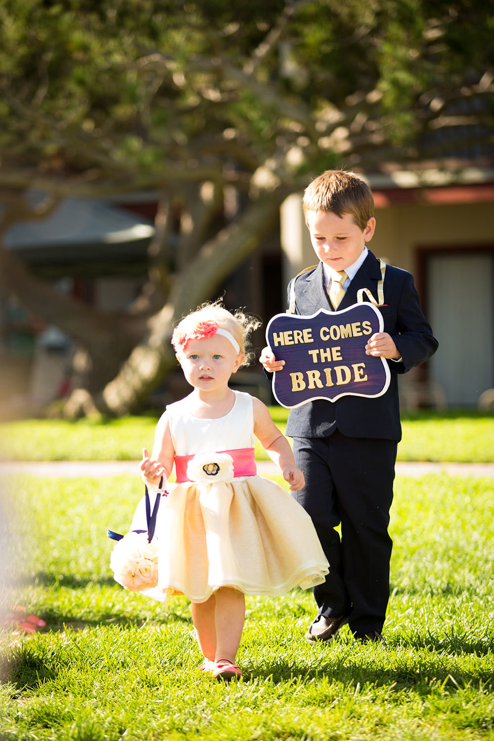cute flower girl and ring bearer