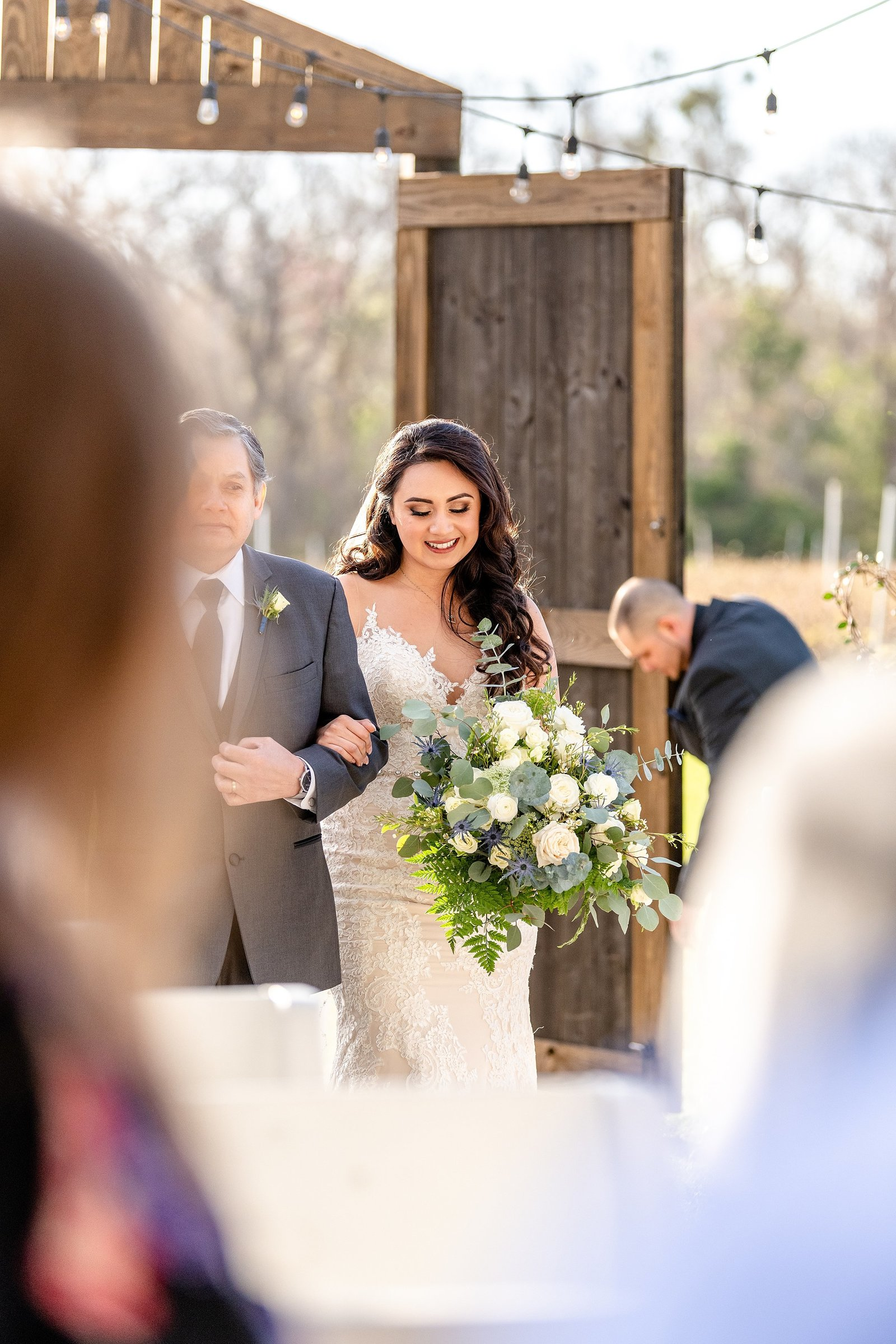 Ever After Farms Wedding | Bride walking down the aisle