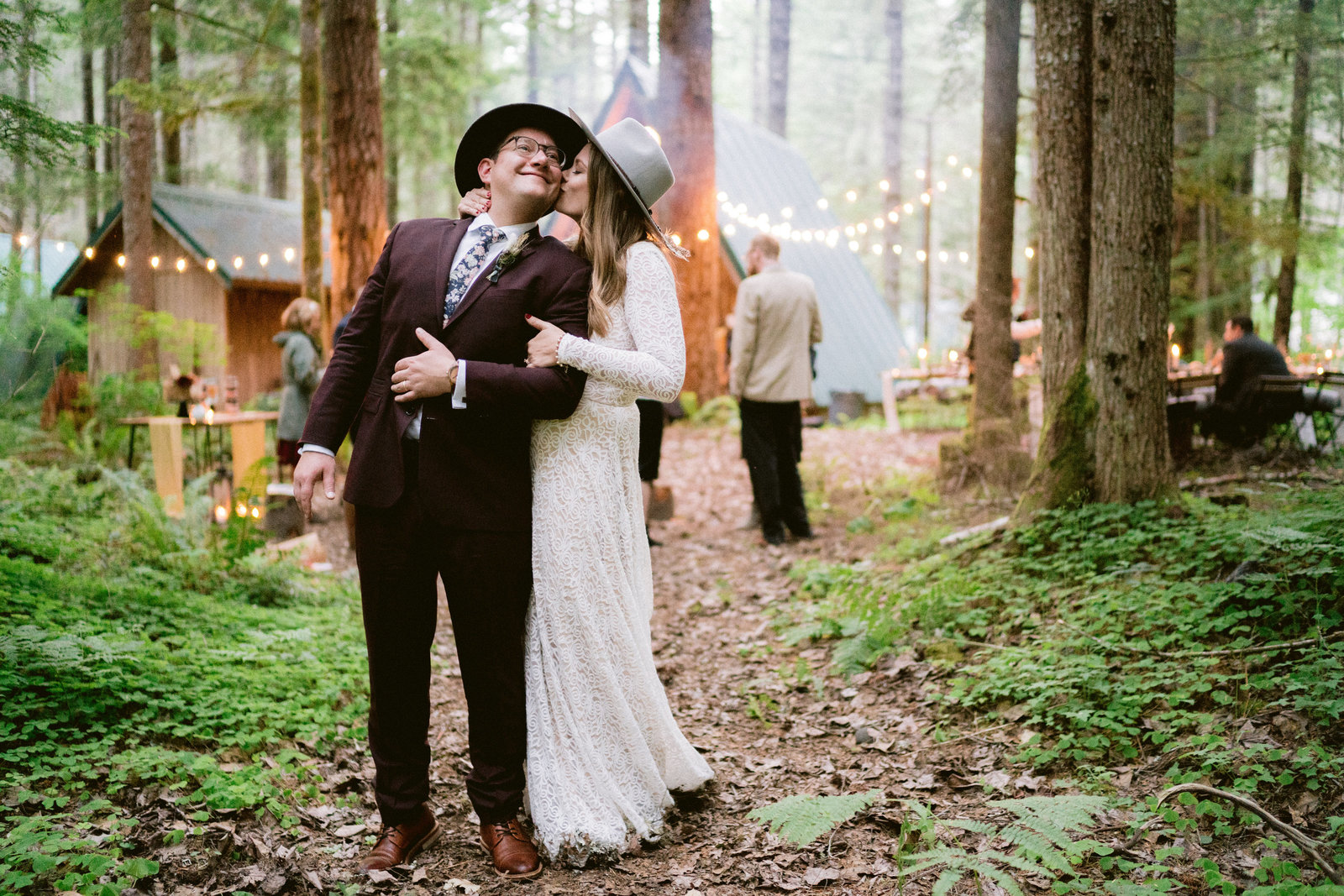 Intimate wedding reception at cabin near Mount Rainier National Park