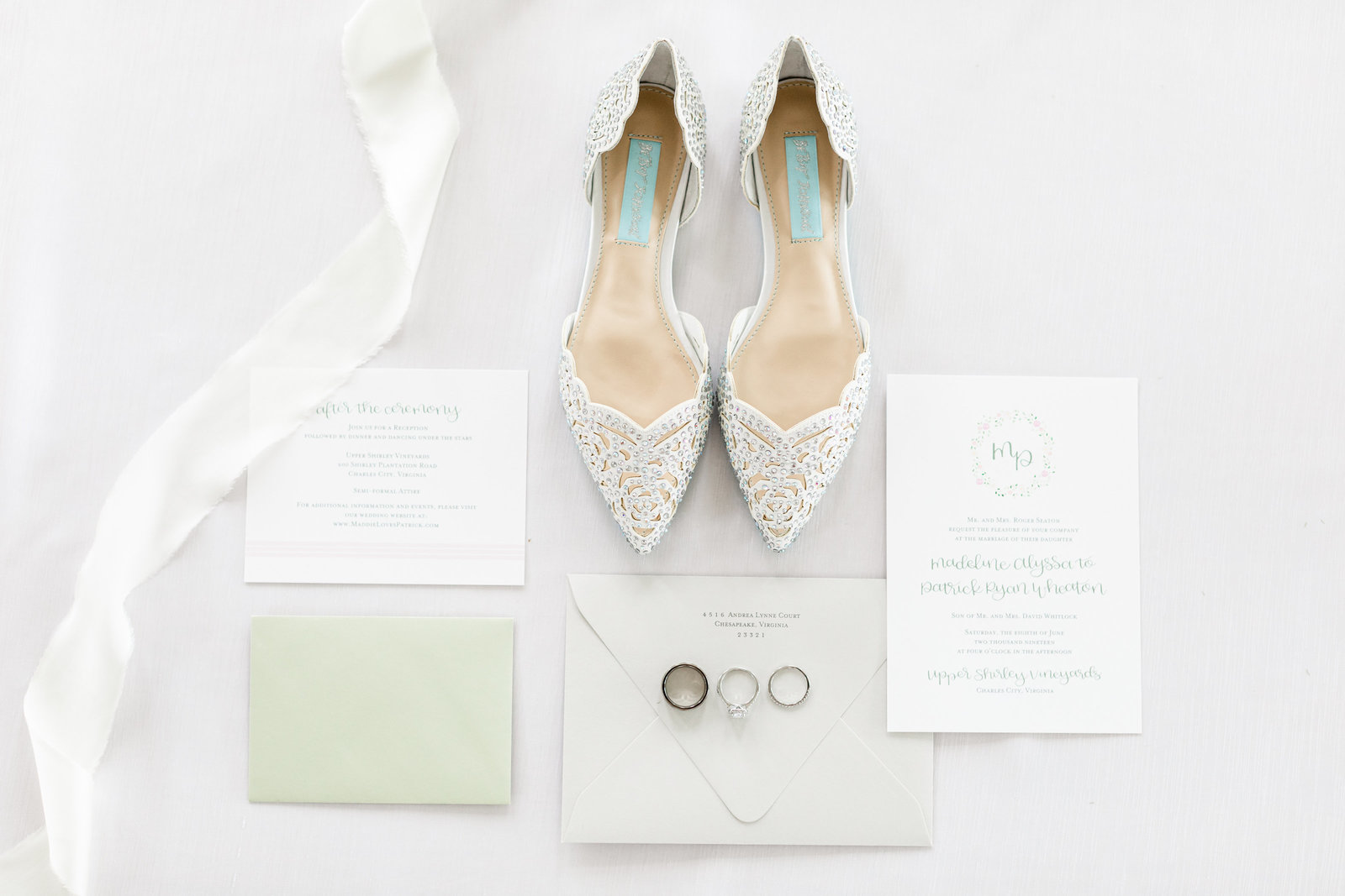 Washington DC Wedding Photography, detail shot of wedding stationary, rings, and shoes