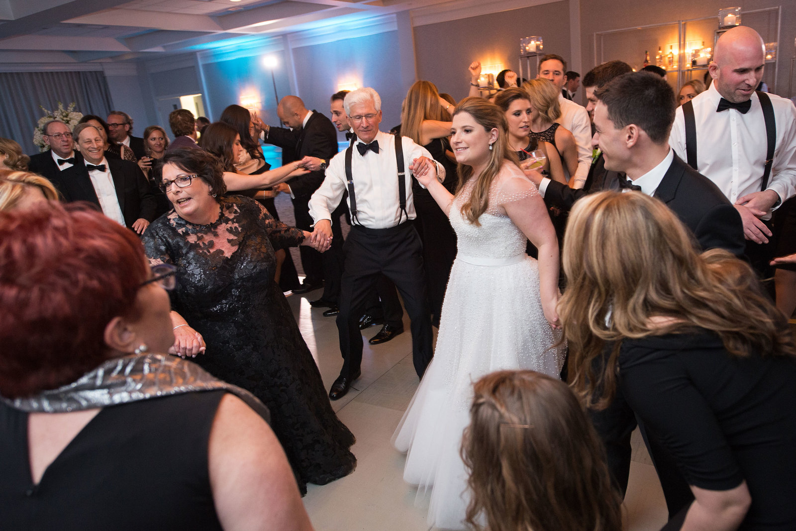 bride and groom dancing during the reception at Engineers Country Club