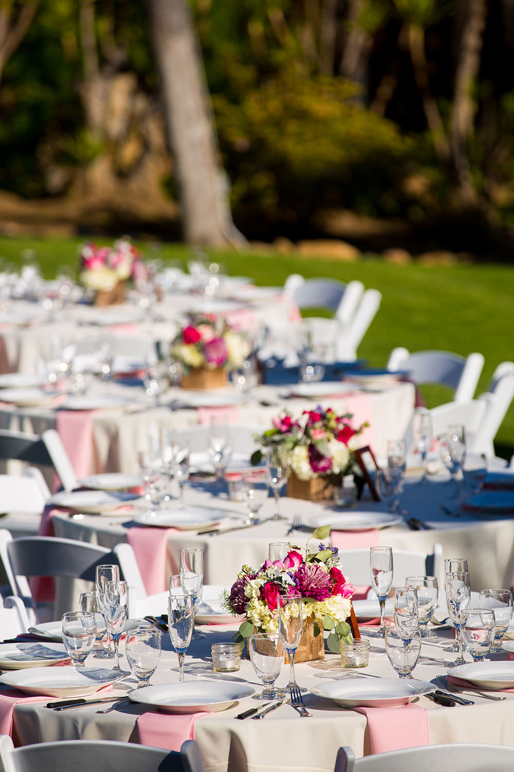 reception tables with pink details
