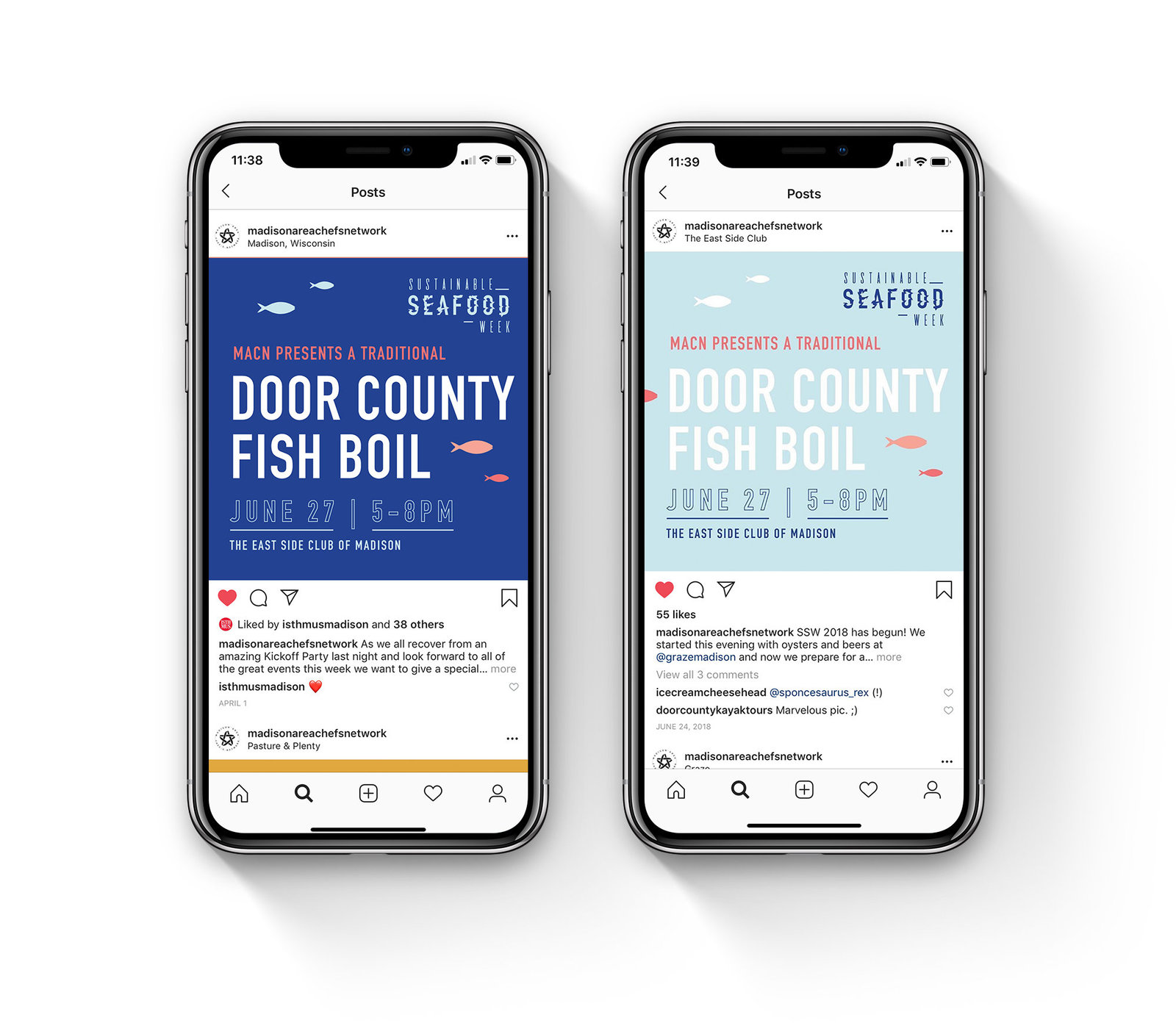 Instagram social media graphics designed for Sustainable Seafood Week 2018 by Christie Evenson