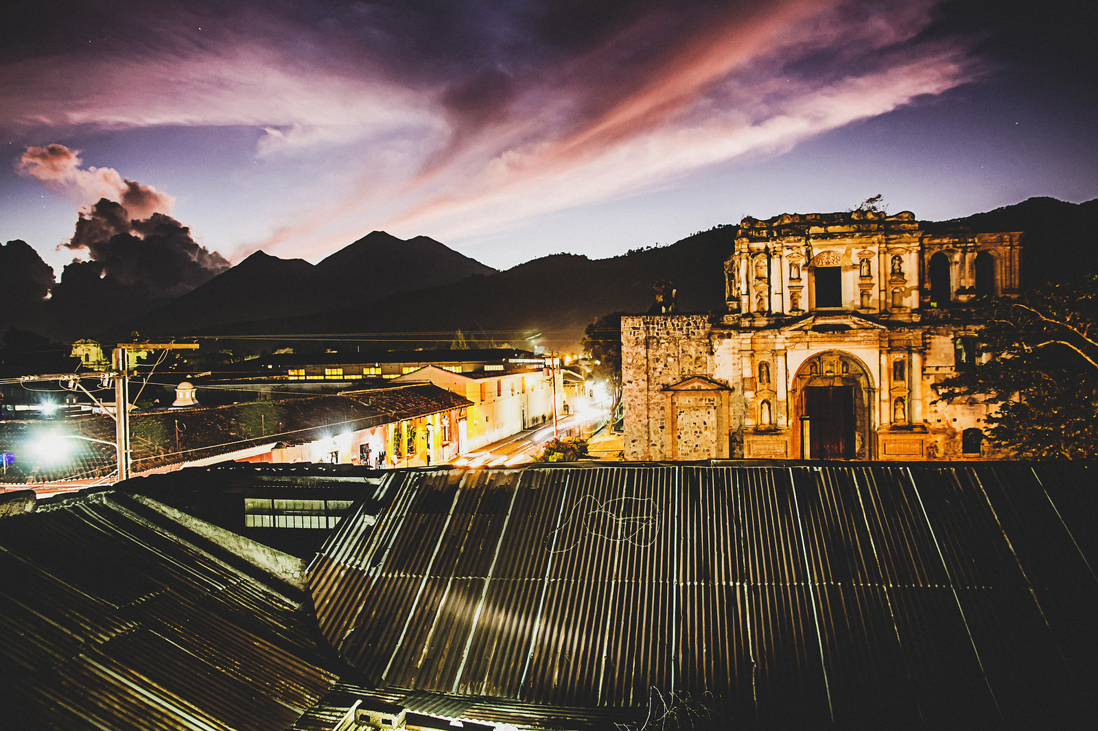Antigua Guatemala at night