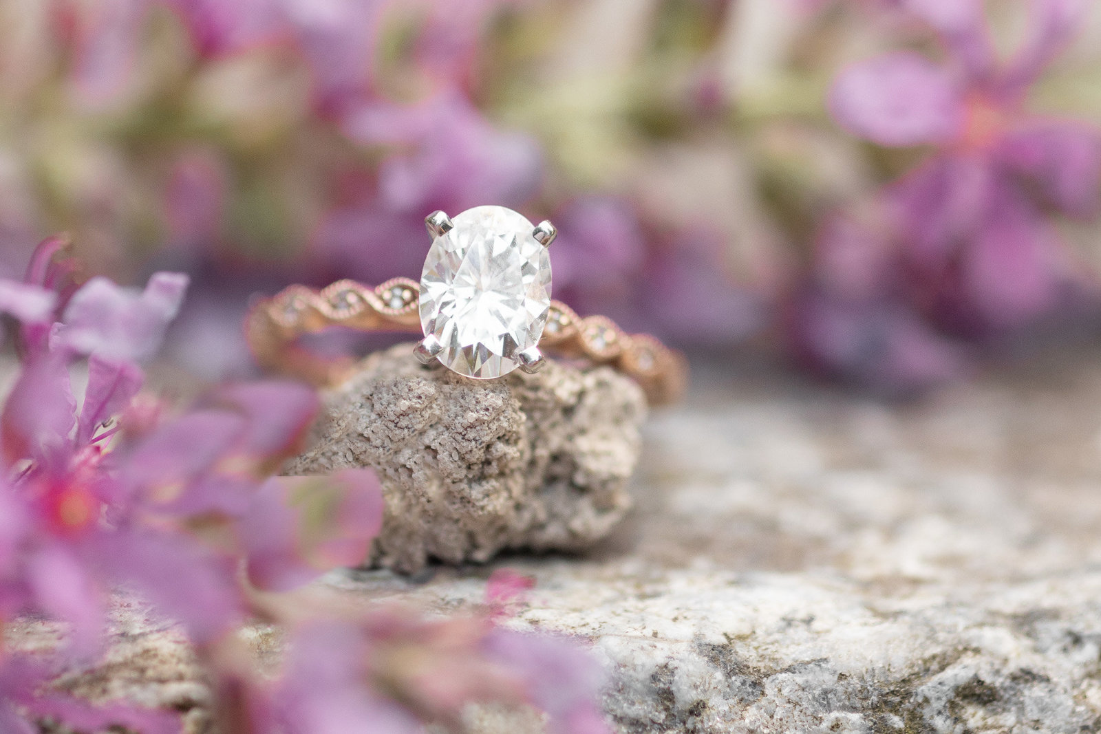 Oval Diamond and Rose Gold Engagement Ring on a rock and a Bed of Lavender Flowers