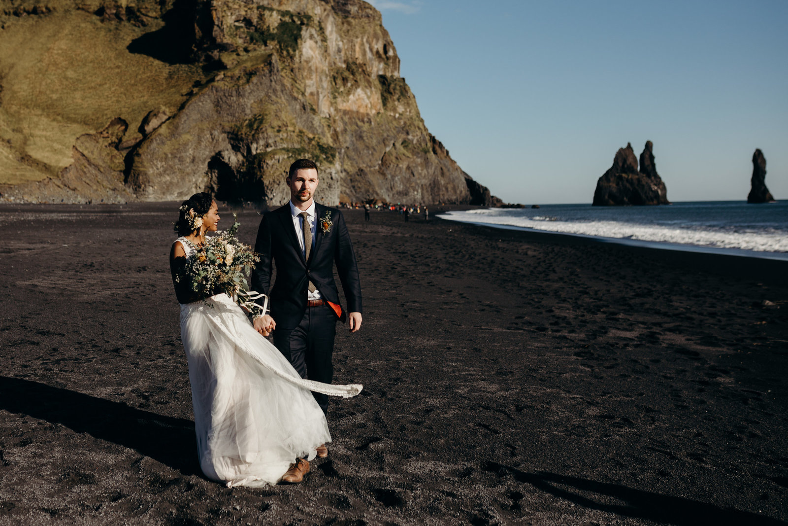 romantic iceland elopement black sand beach moth and moonlite photography