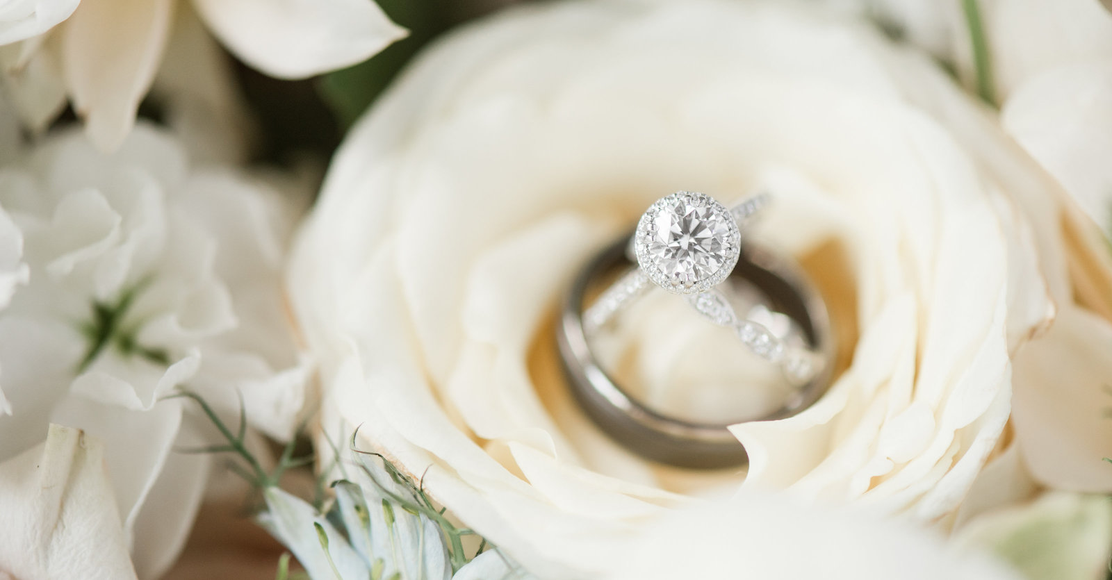 wedding rings in bouquet southern wedding by norflolk virginia wedding photographer