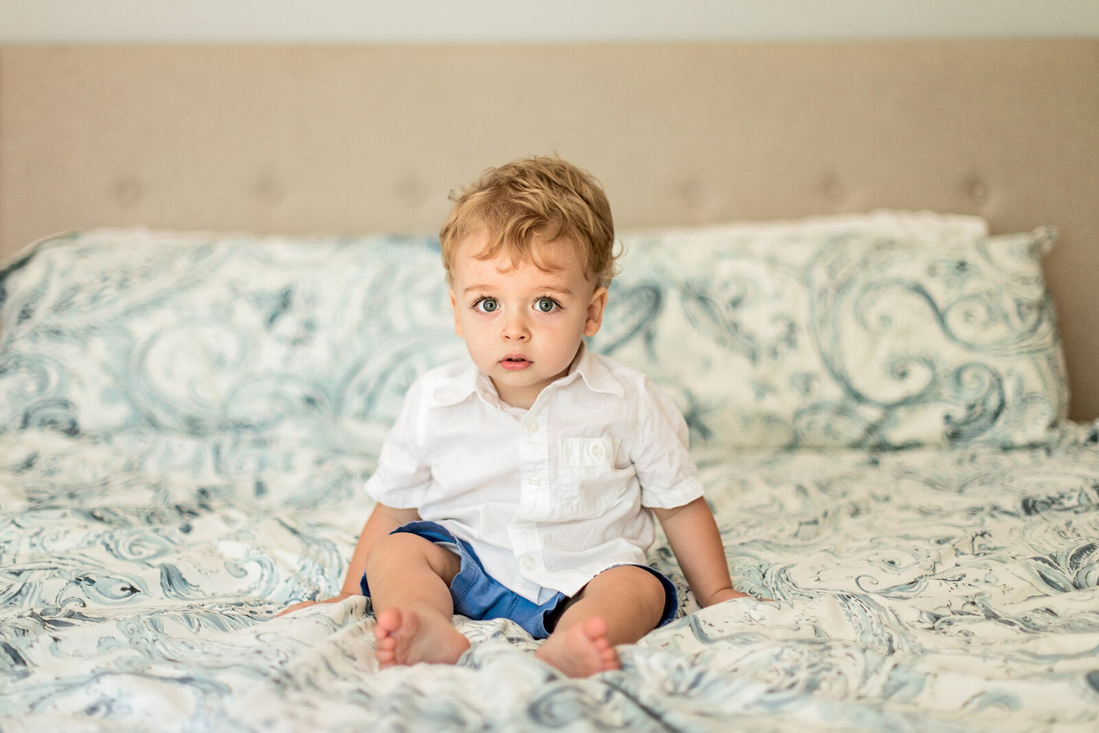 Toddler Boy  Sitting on Bed  Photo, Scotch Plains, NJ