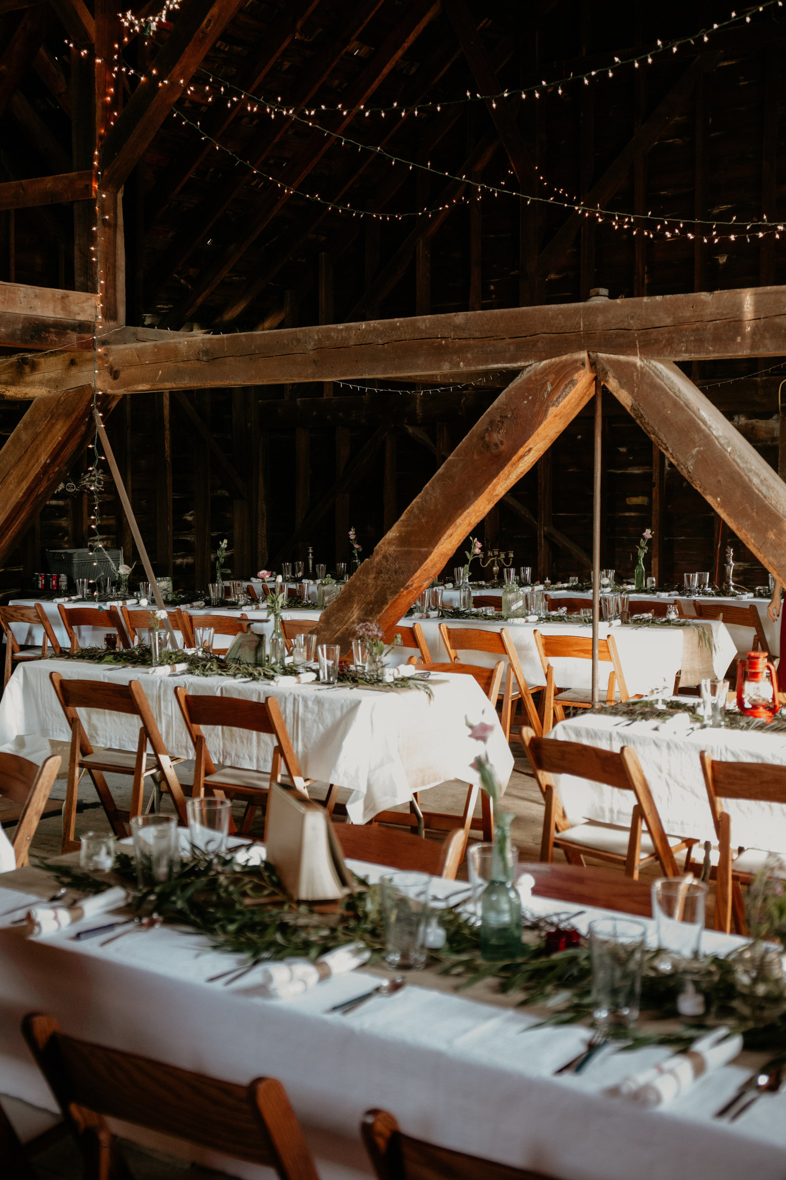 Barn reception setup in Catskill, New York.