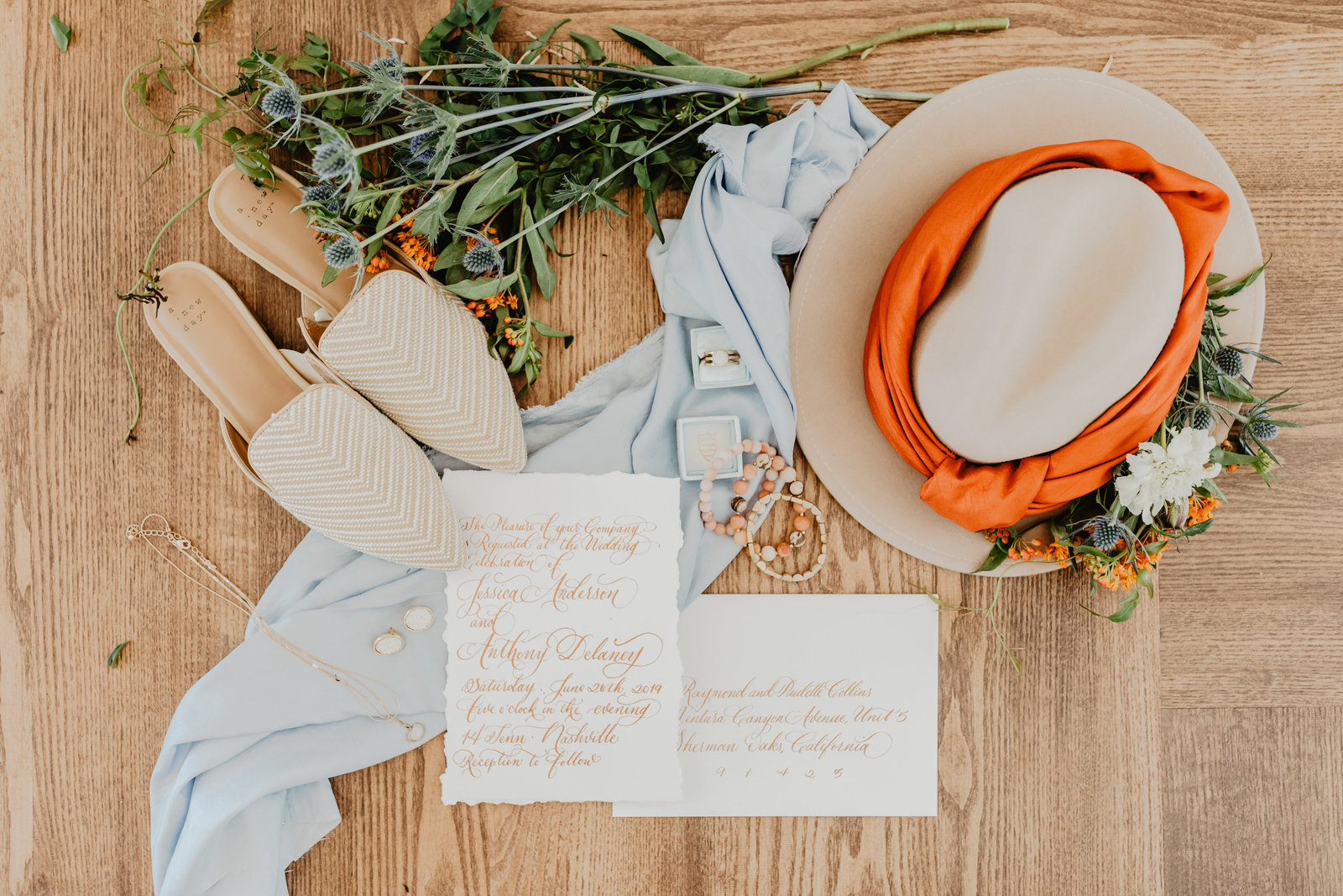 Hats are a good change to the traditional bridal accessories with these wedding day details at 14 Tenn
