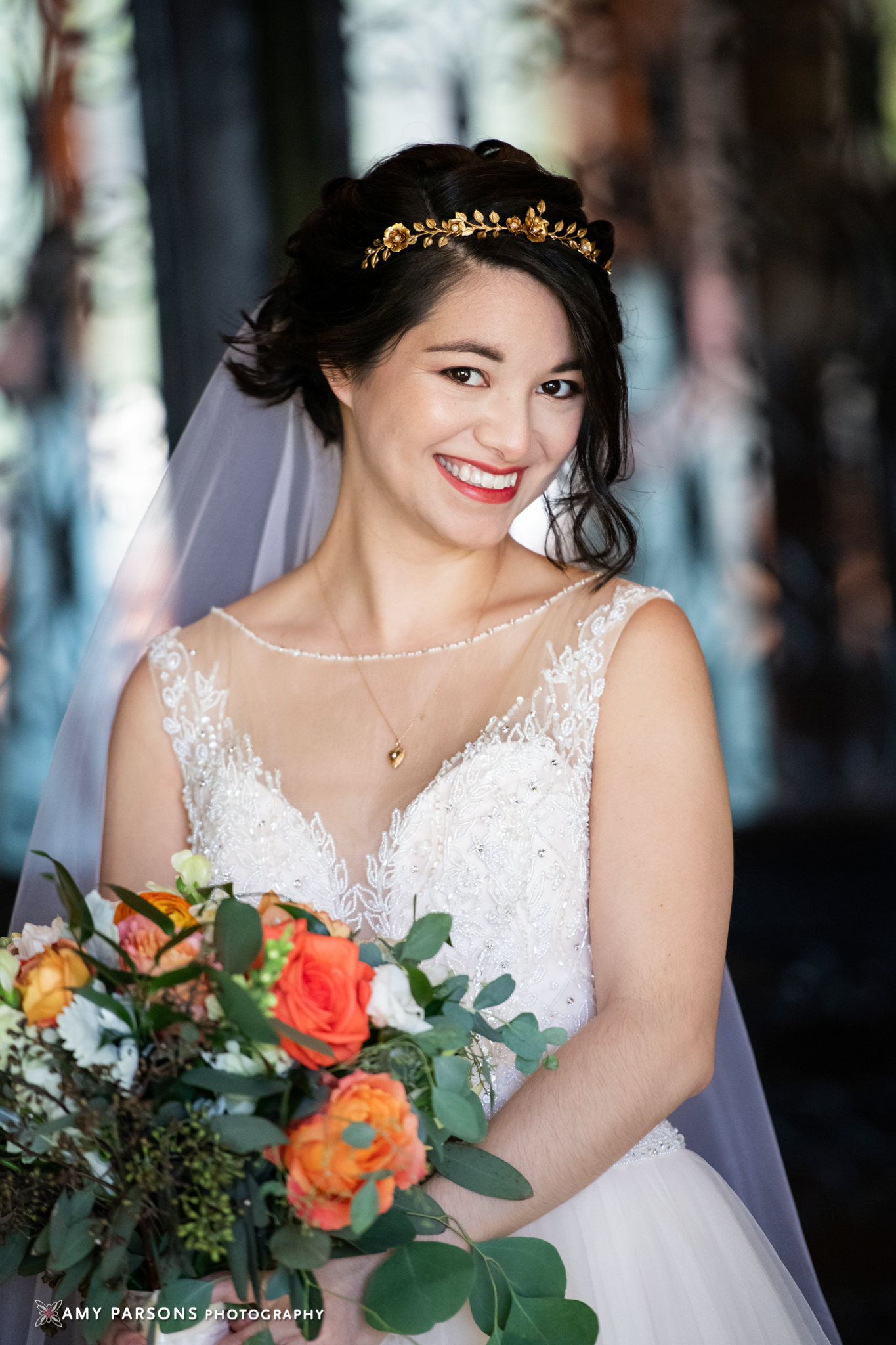 Bride Renata wearing custom floral gold tiara 3