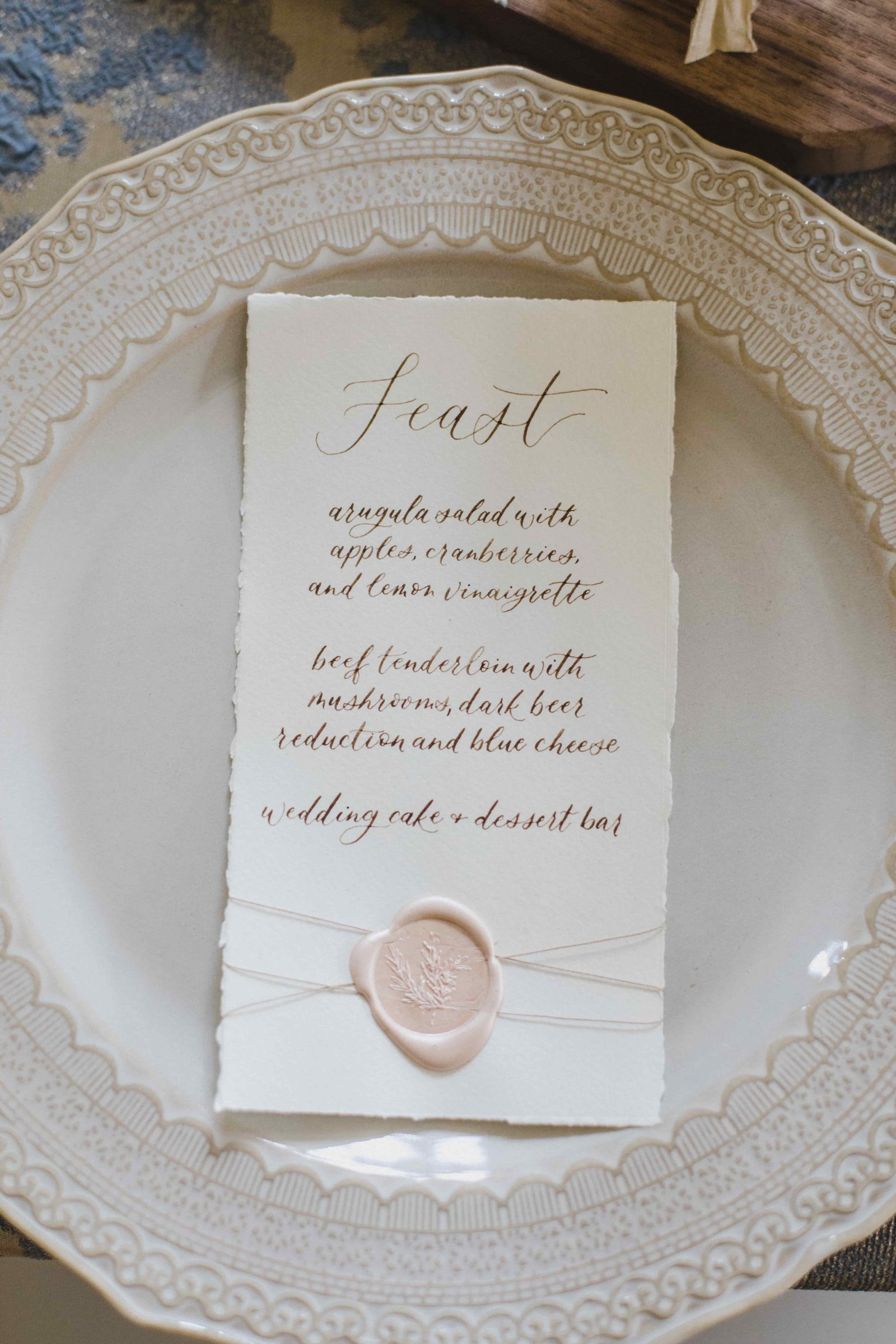 wedding menu calligraphy seattle wax seal-min