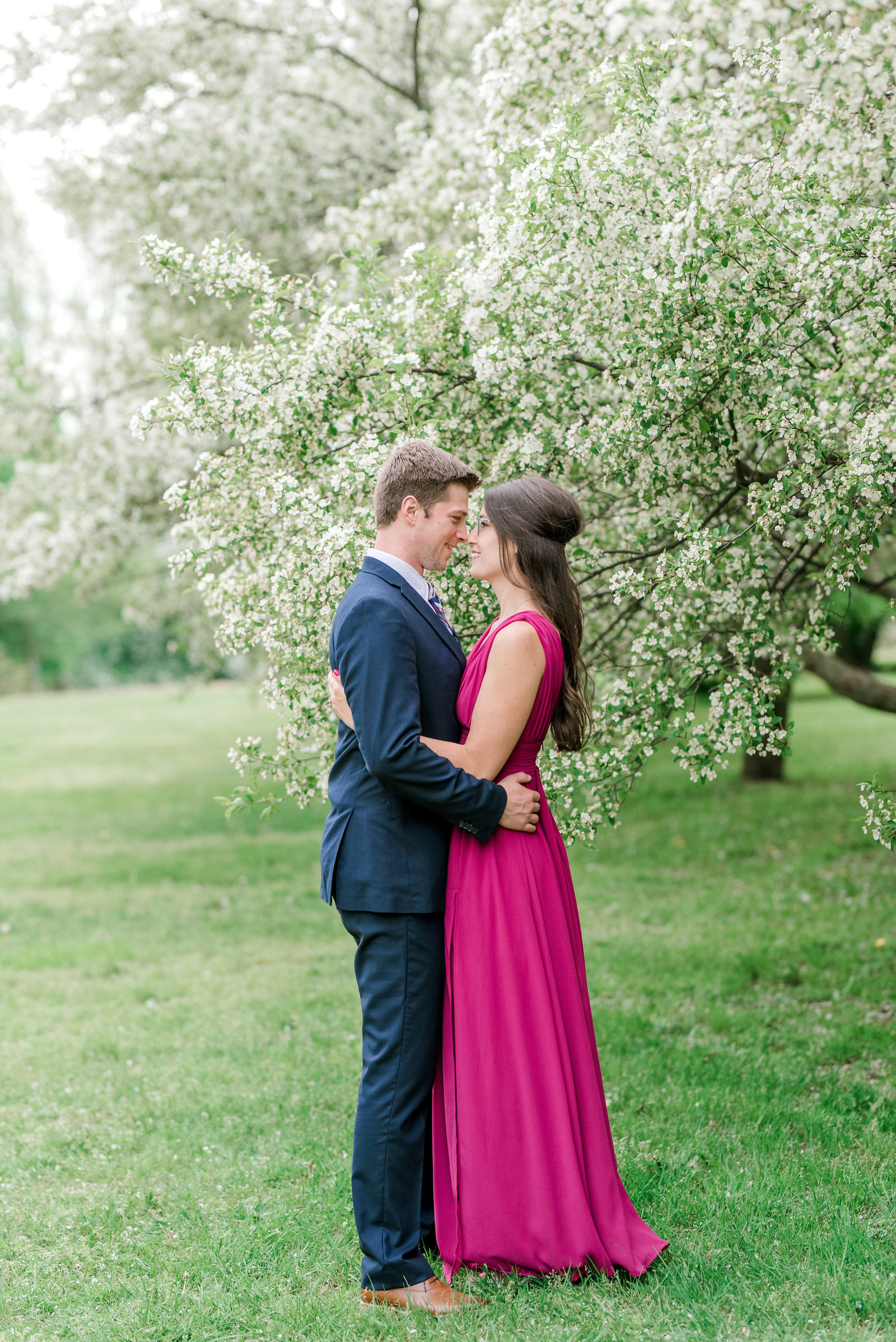 Waterfront Park in Erie PA Engagement Session with Cherry Blossoms