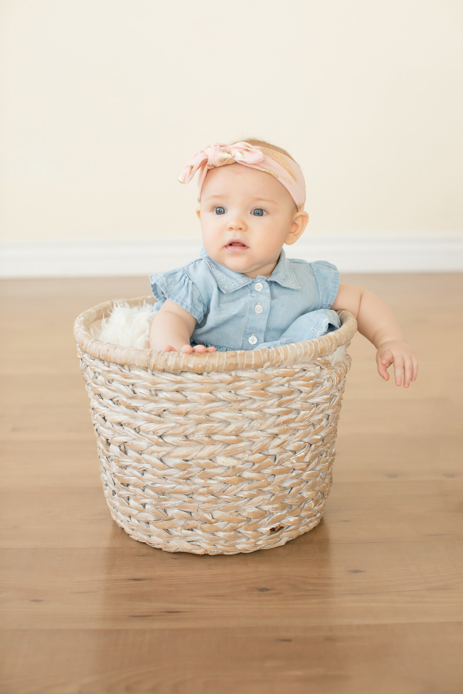 baby girl denim dress phoenix portrait