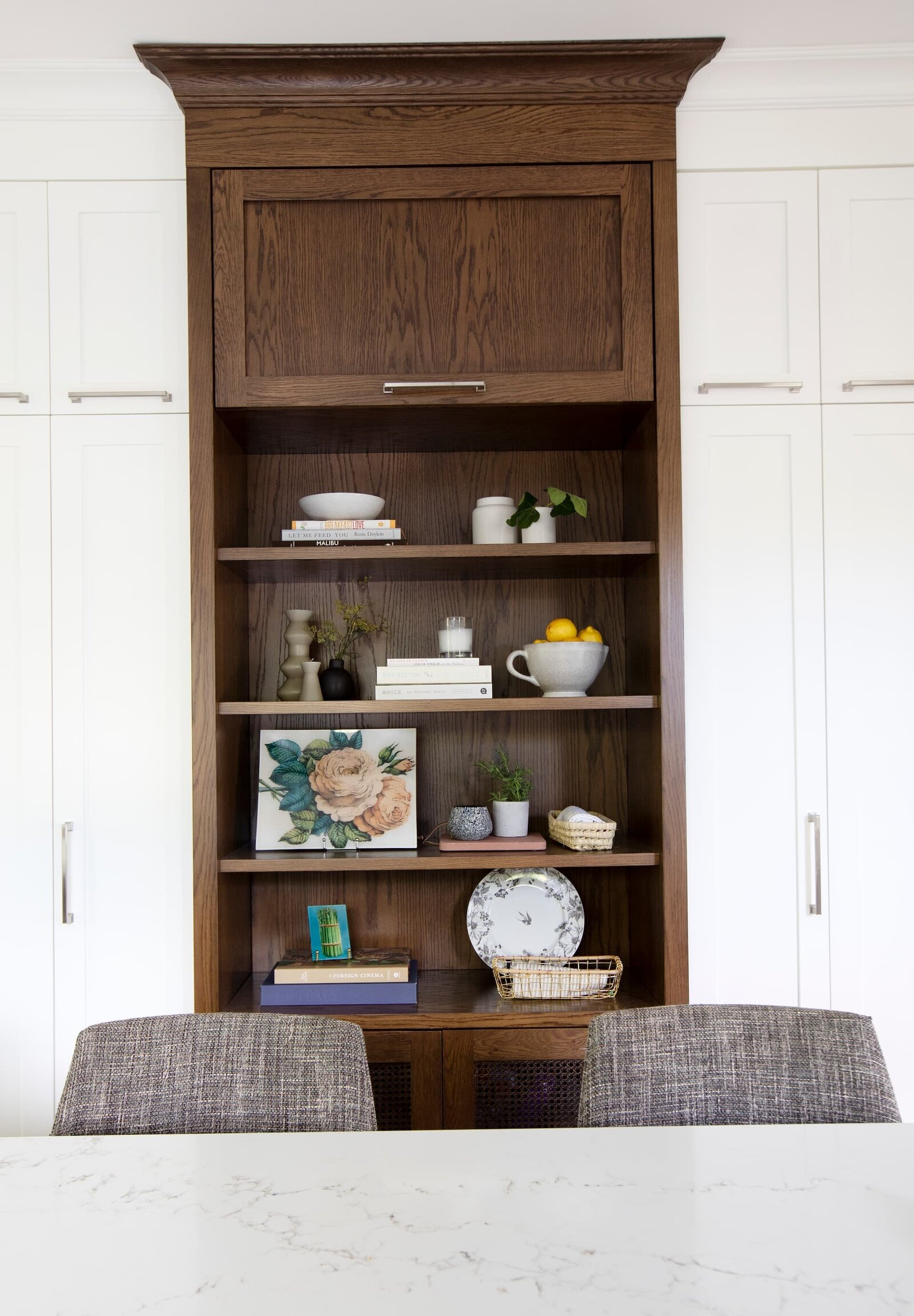 Granville Street l Kitchen l Storage Wall Cabinetry with Open Shelves
