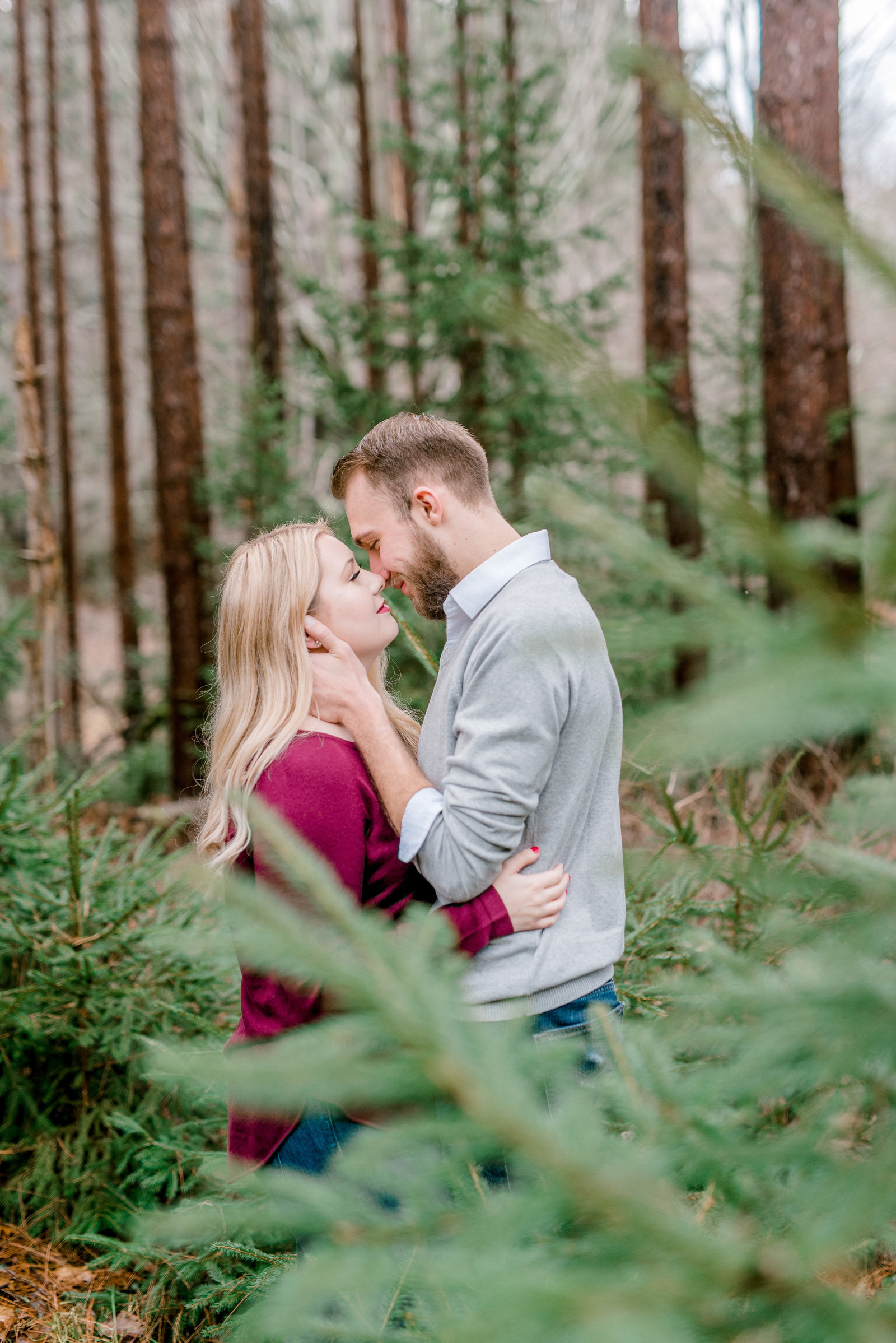 Pine Trees, Wooded Area Engagement Session in New Jersey