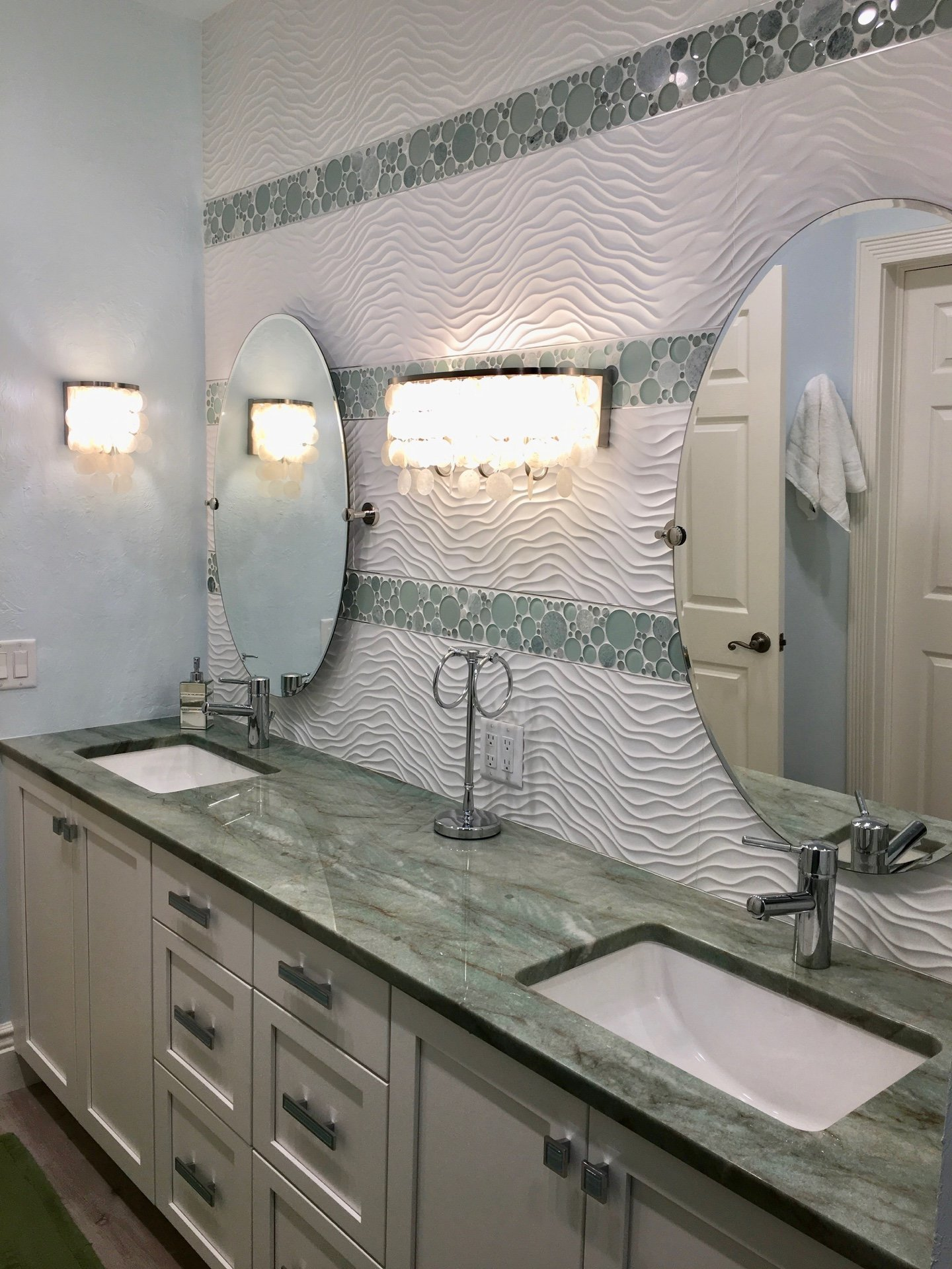 Florida Contemporary Coastal Aqua White Bathroom Design