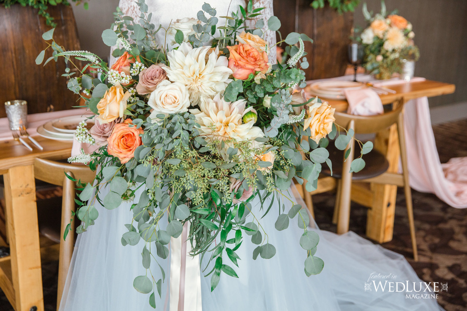 Styled Wedluxe Magazine Rustic Retreat bridal bouquet