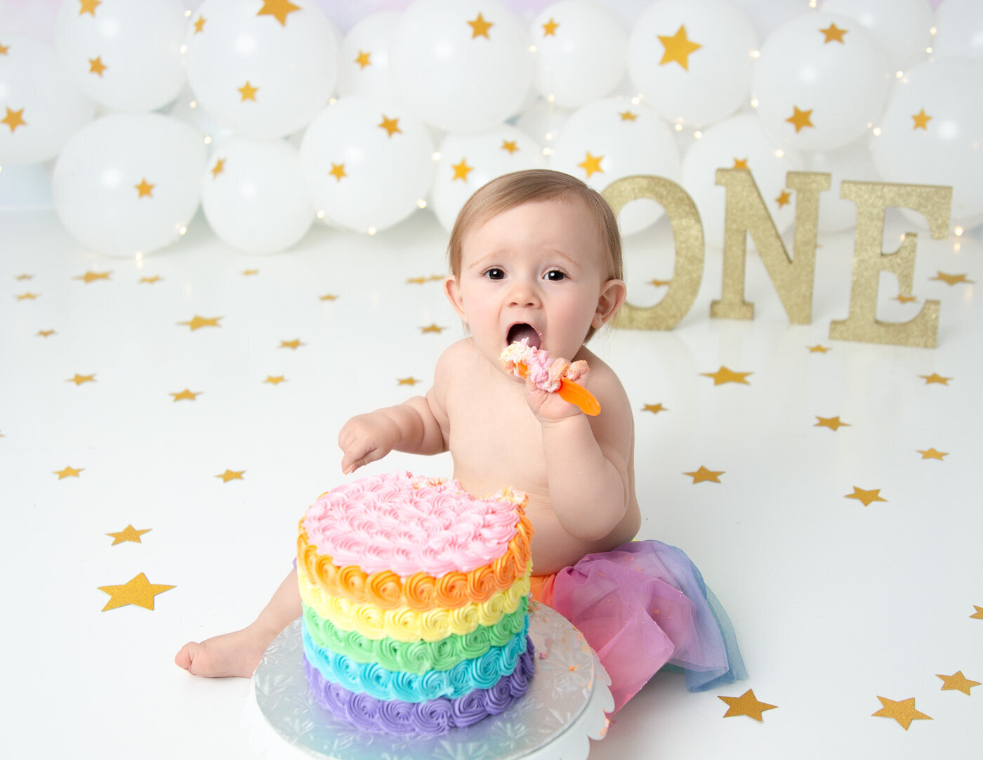 One year old girl cake smash in our Rochester, NY studio.