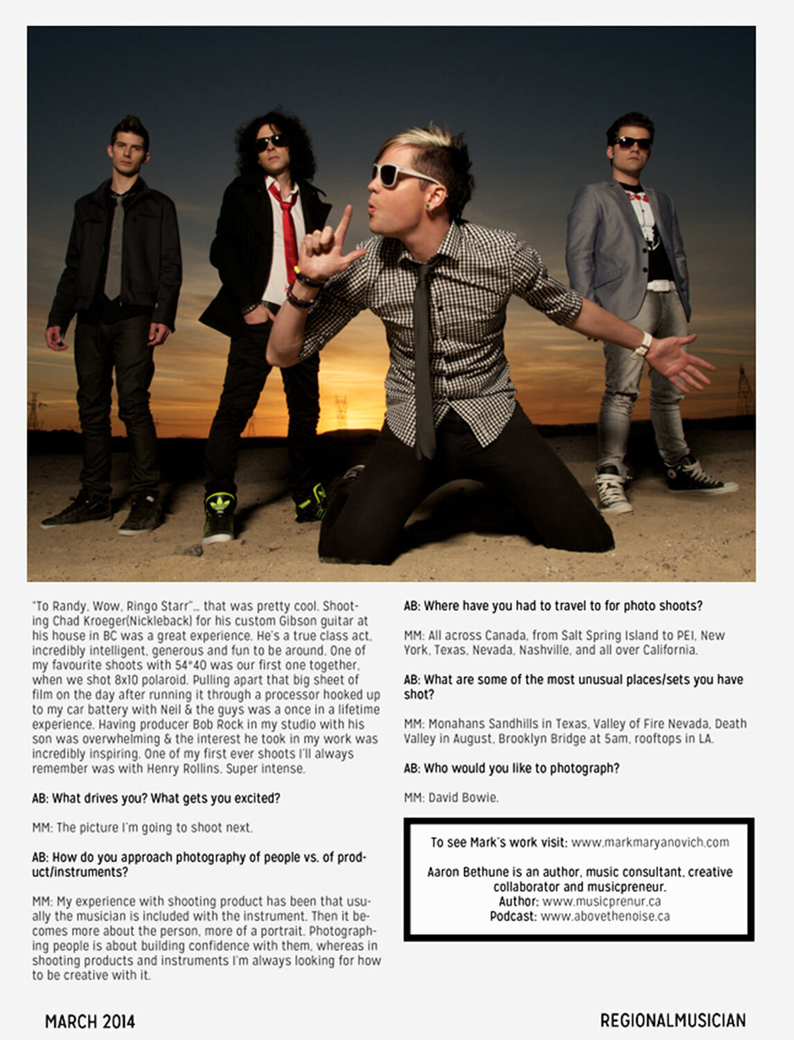 Interview featuring Photographer Mark Maryanovich Regional Musician Magazine band photo four members in standing in desert at sunset lead singer on knees in foreground page 8