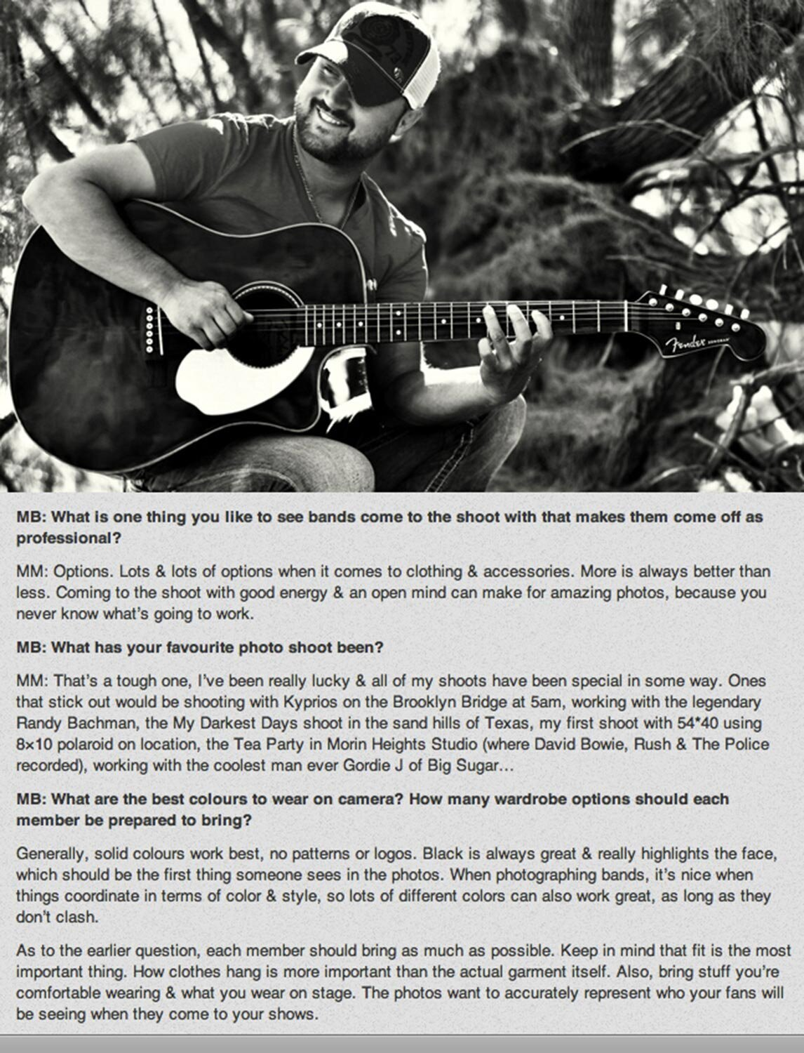 LA Photographer Mark Maryanovich interview Publication MusicBox Artist Consulting page 2 country music photo musician strumming guitar and smiling in front of tree black and white