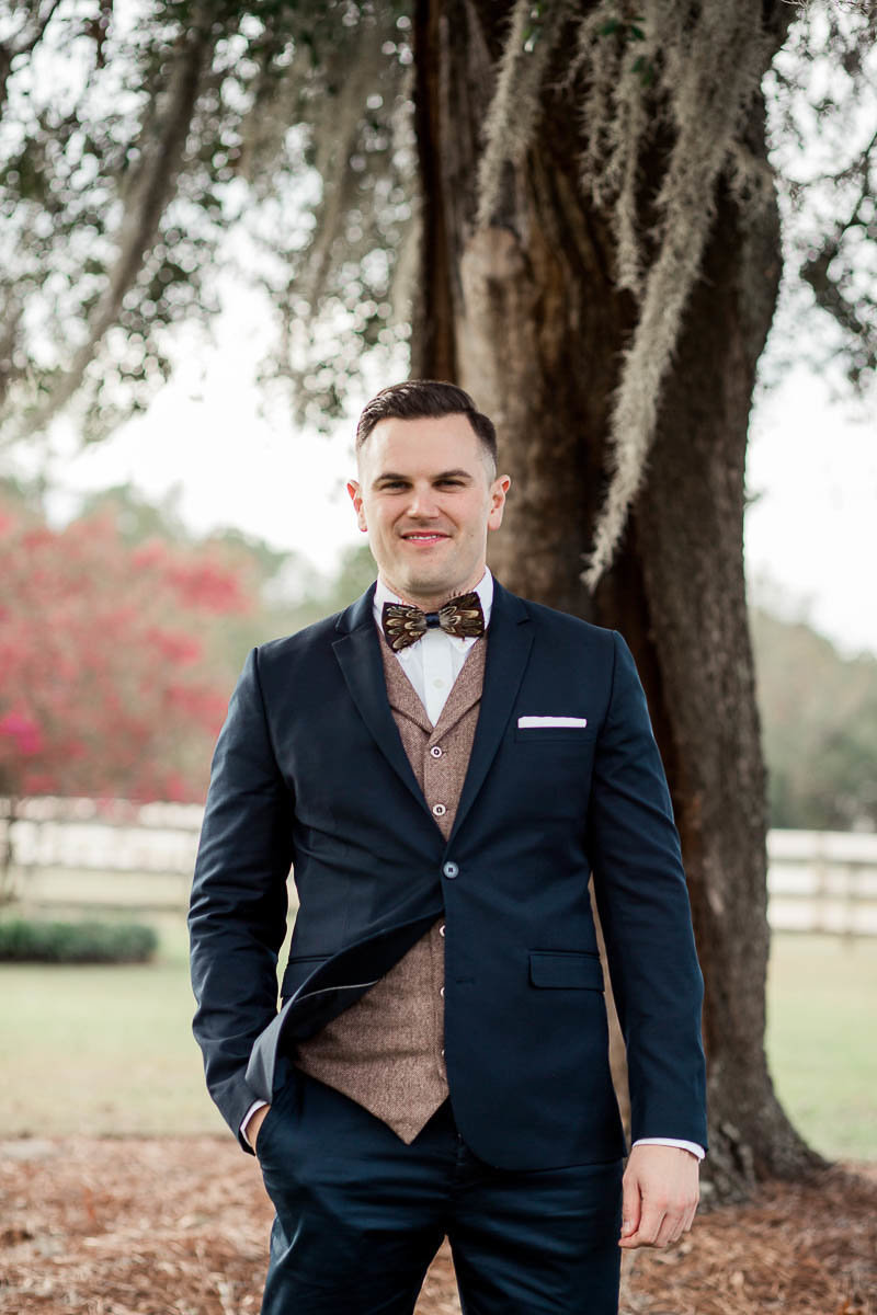 Groom stands for portrait, Boals Farm, Charleston, South Carolina