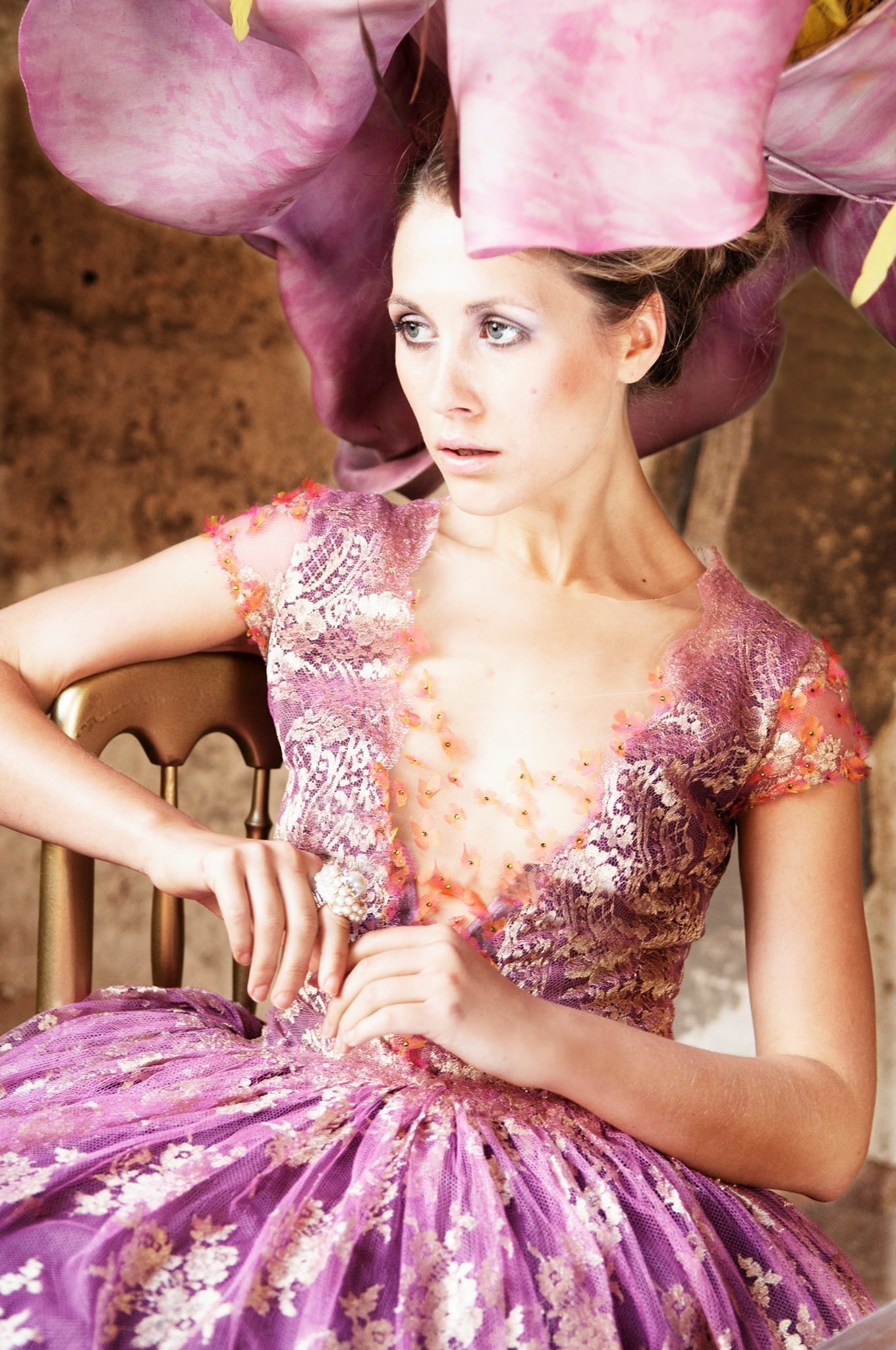 Svetlana_pink_gold_lace_tealength_cocktail_part_dress_JoanneFlemingDesign_BruceSmithPhoto (1)