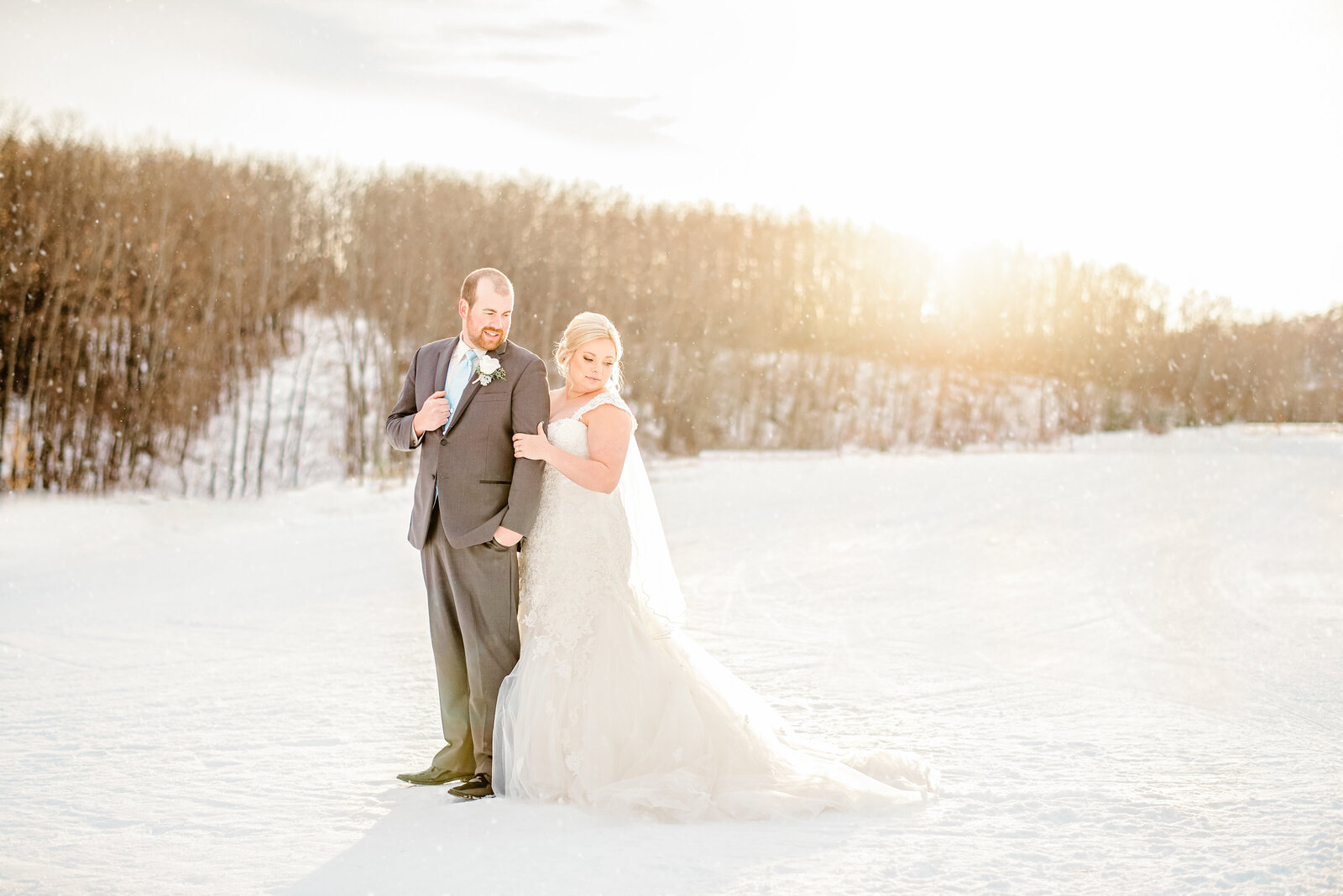 Bride and Groom on their winter wedding
