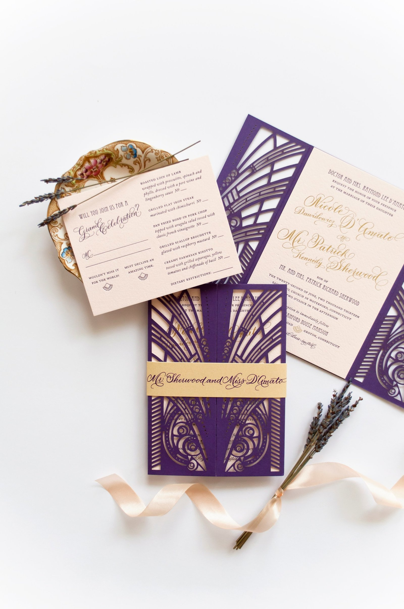 Luxurious gatsby themed letterpress wedding invitations for wedding at The Branford House in Groton, CT