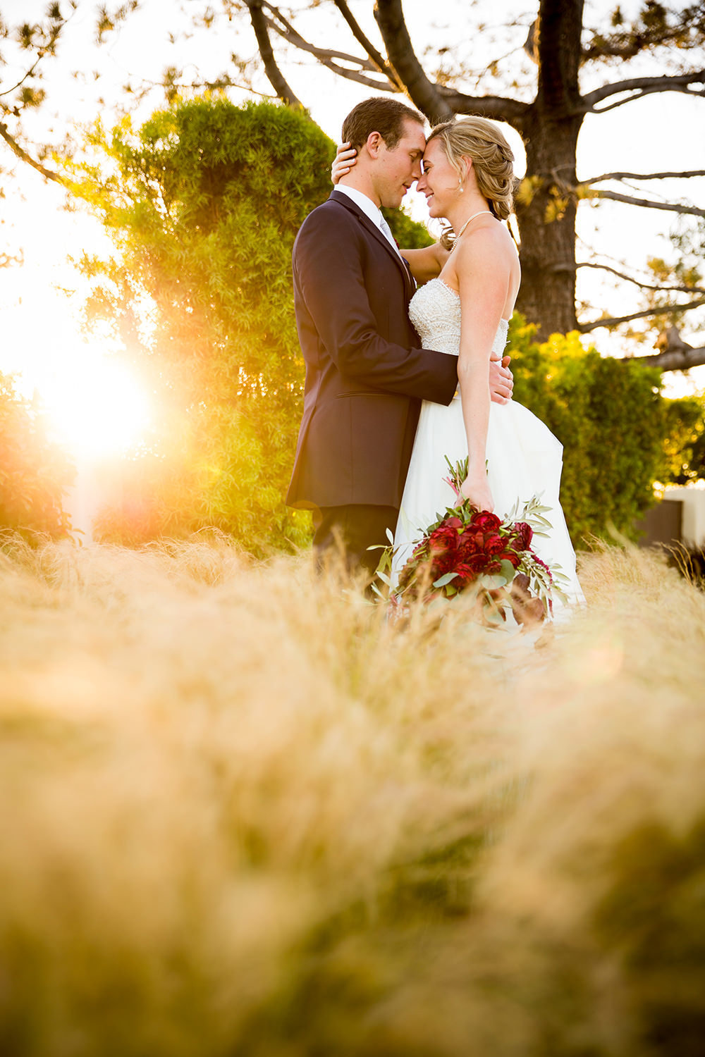 bride and groom in open field with grass