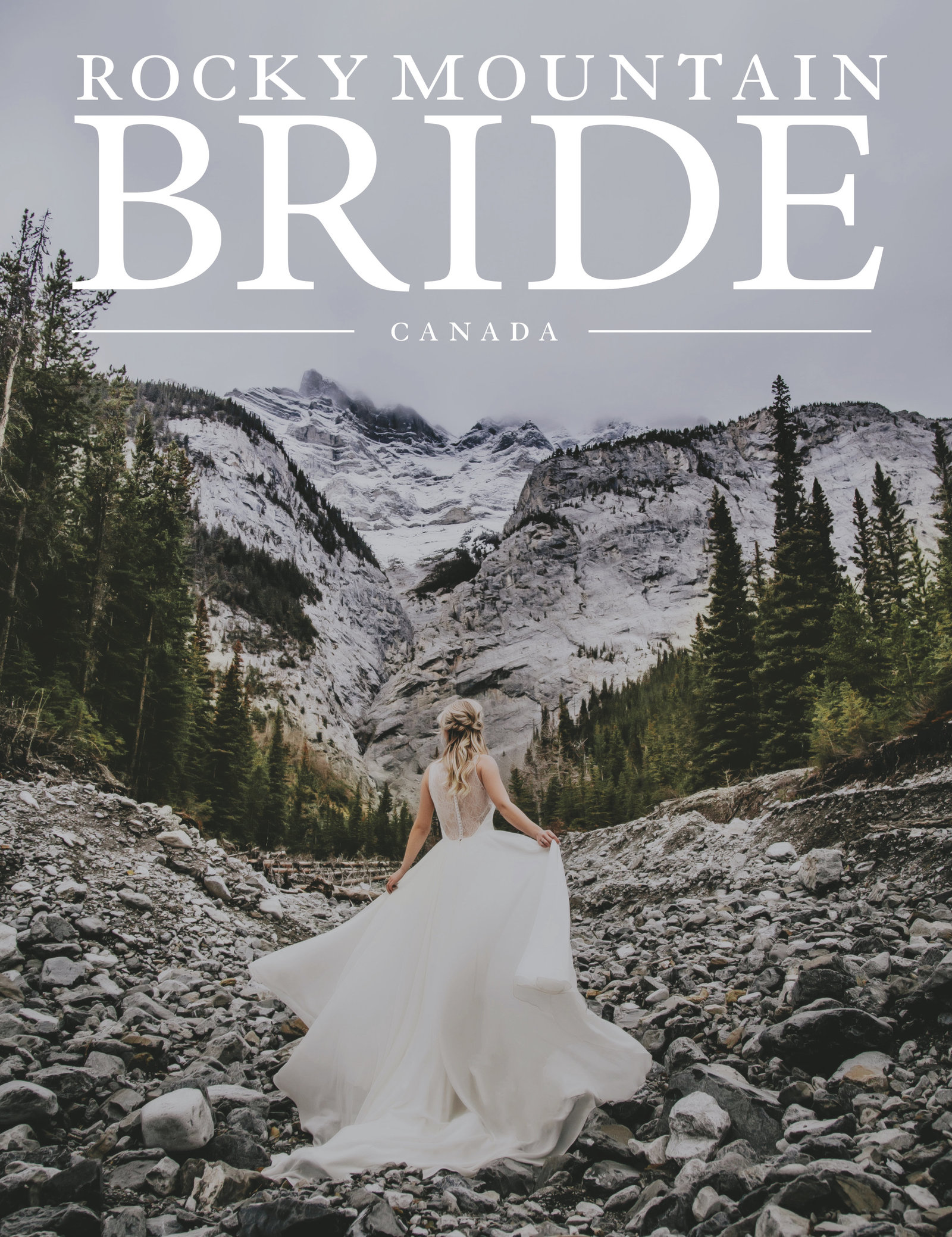 top wedding photographer in banff on cover of rocky mountain bride magazine