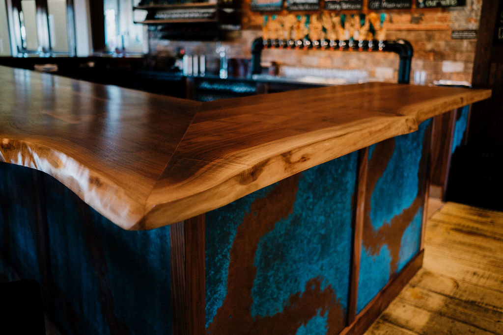 Live edge walnut bar