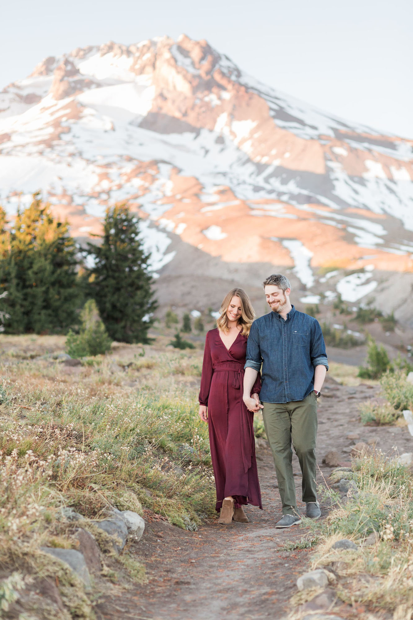 Mt Hood is the backdrop for fall engagement photos