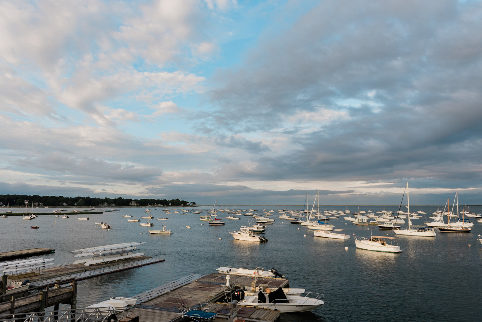 The view of the harbor from the top deck at a duxbury bay maritime school wedding