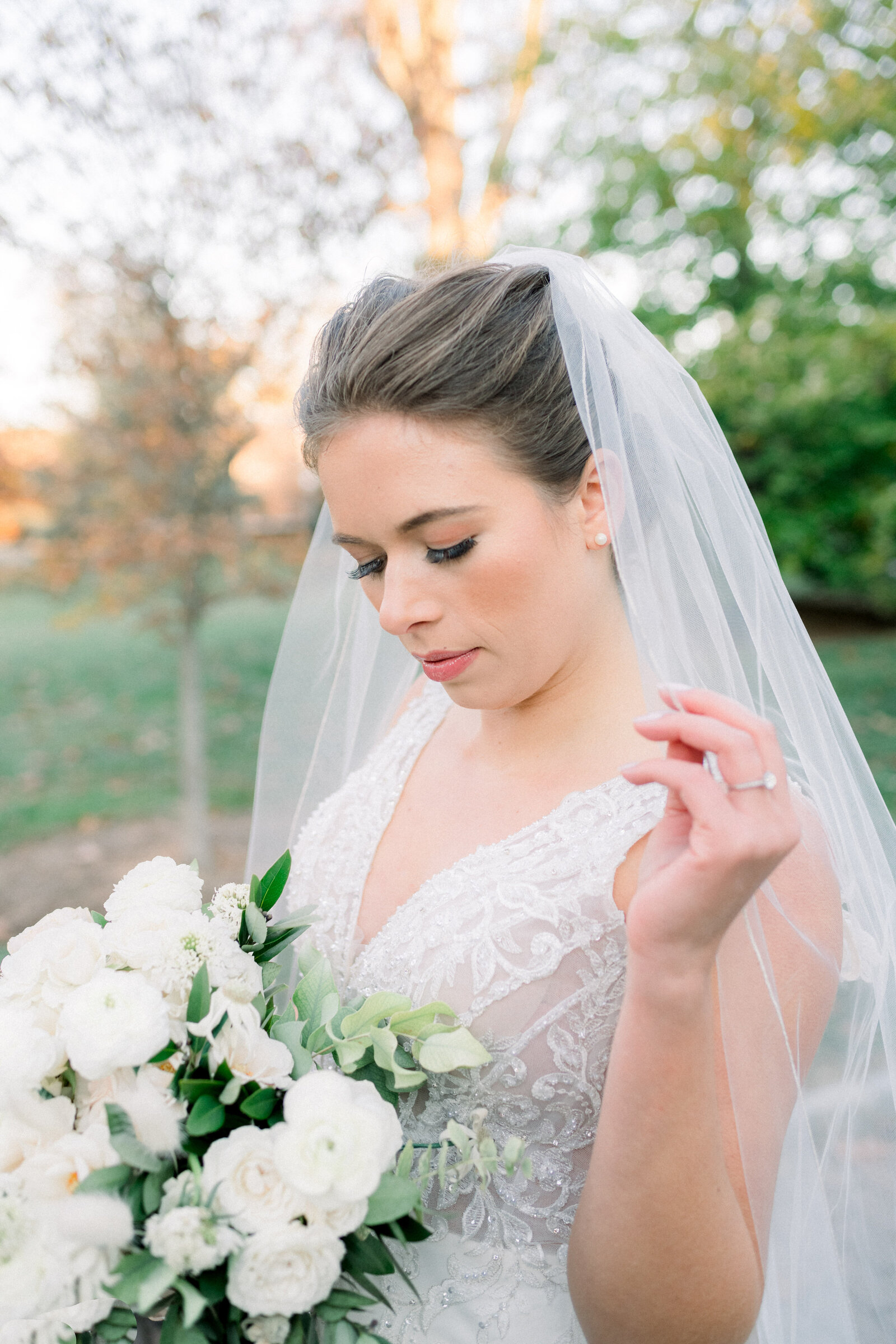 Fine art bride editorial with blush and cream bouquet and veil in Princeton New Jersey by Liz Andolina Photography