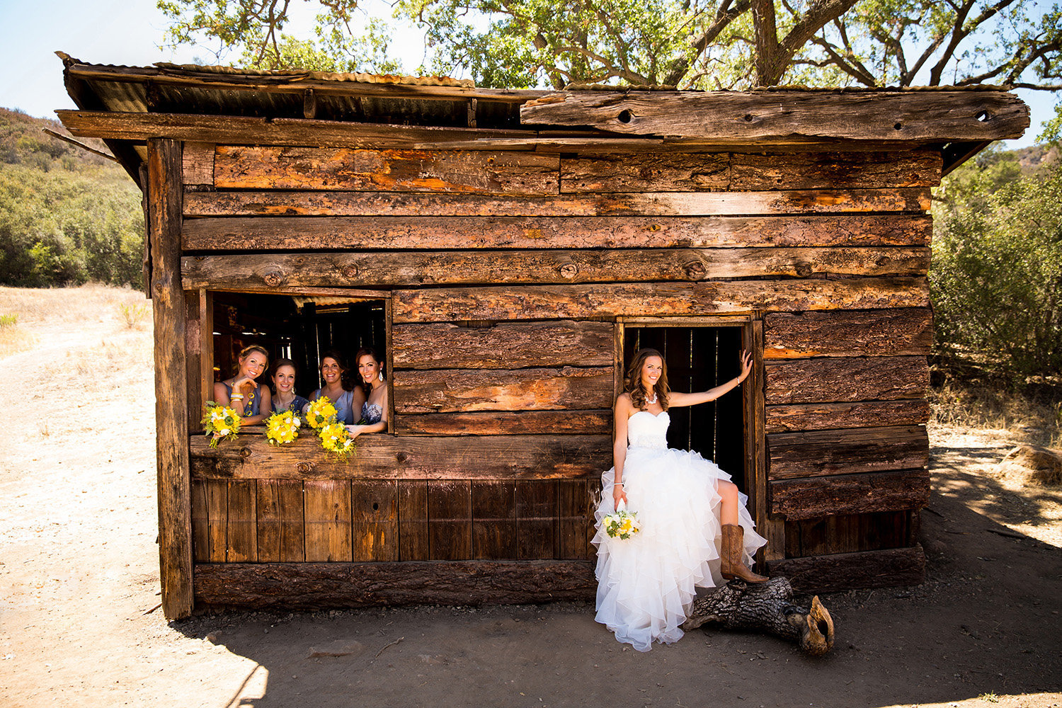 Daley Ranch wedding photos rustic barn bridal party