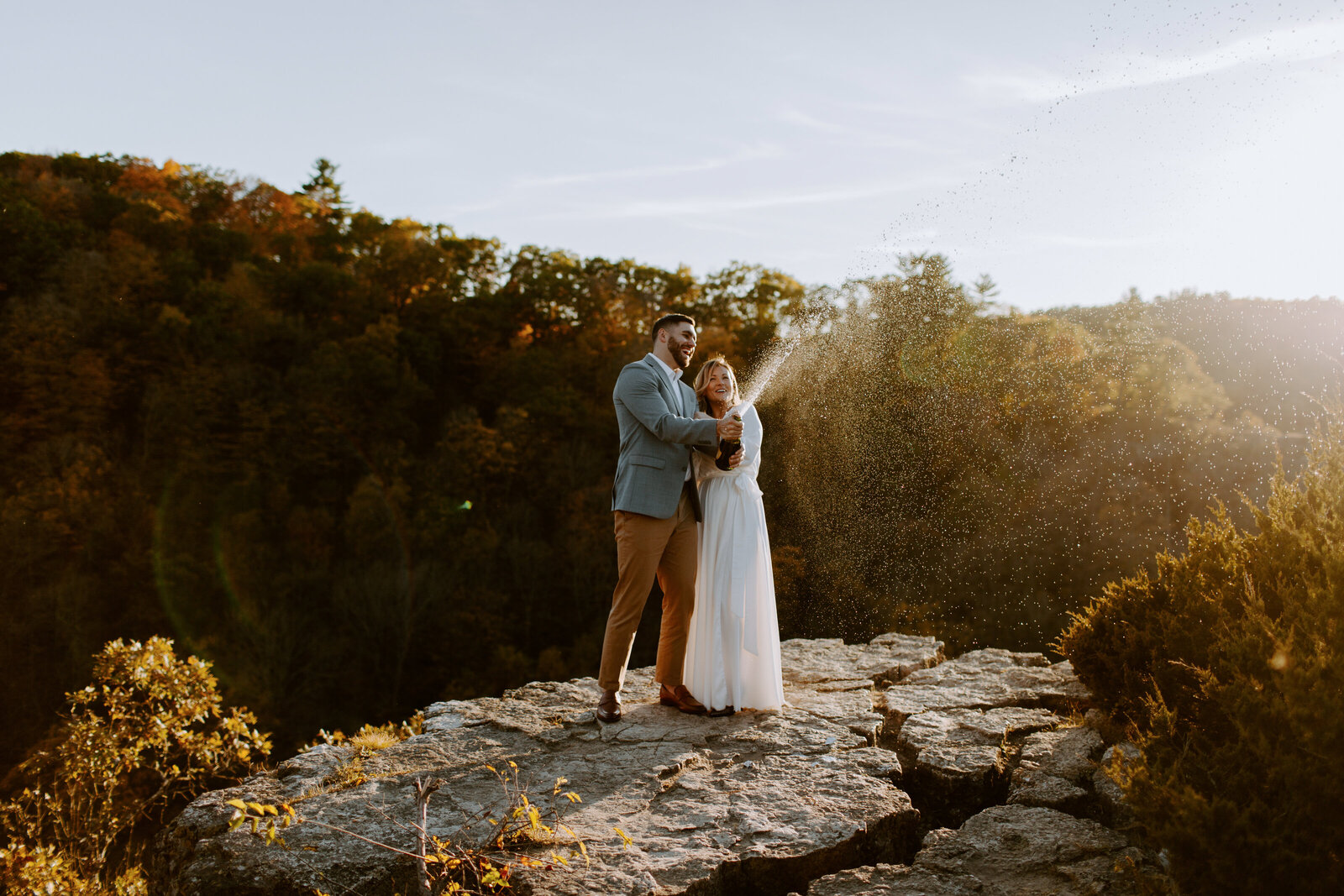 Sunset engagement session outside Rochester Minnesota by Skyler and Vhan