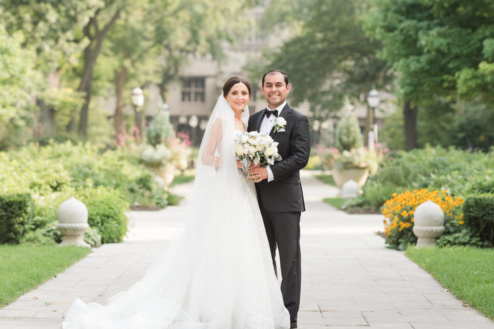 Beautiful wedding photo at the University of Chicago campus.