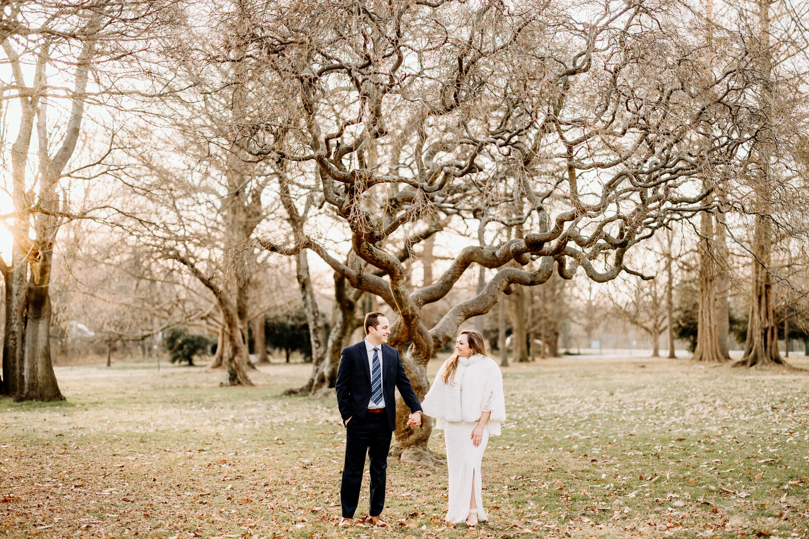 couple at horticultural center trees