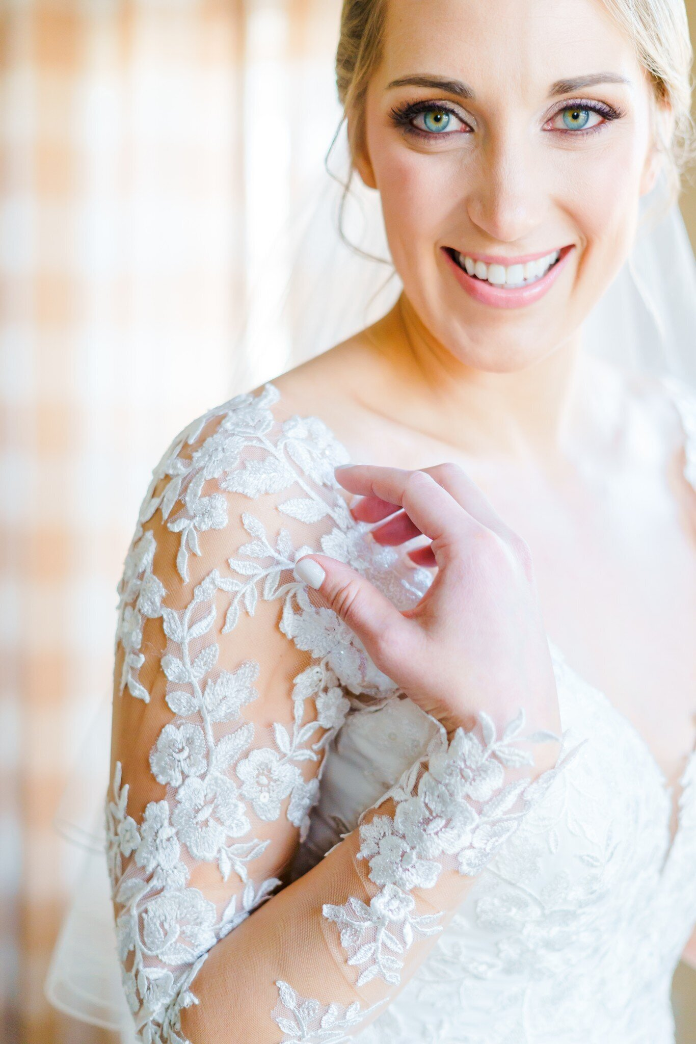 Close up of lace detail on New Hampshire Brides wedding dress