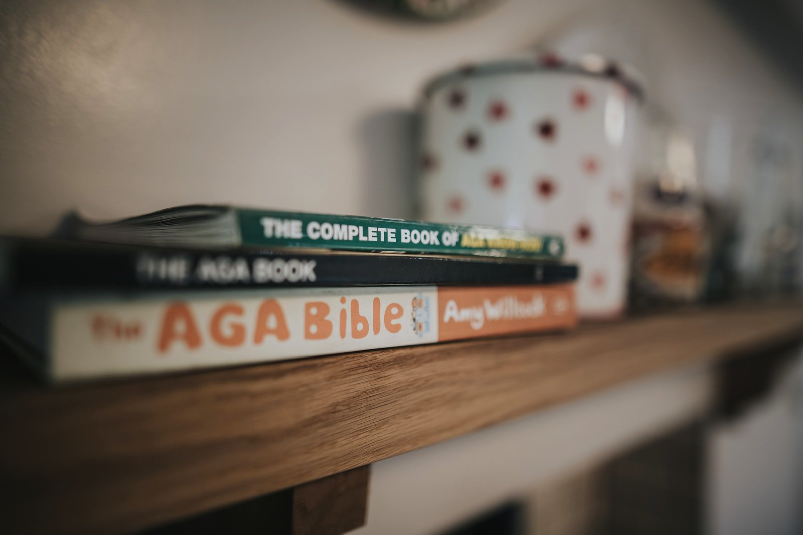 Books on Mantle in Baldry's Cottage Kitchen