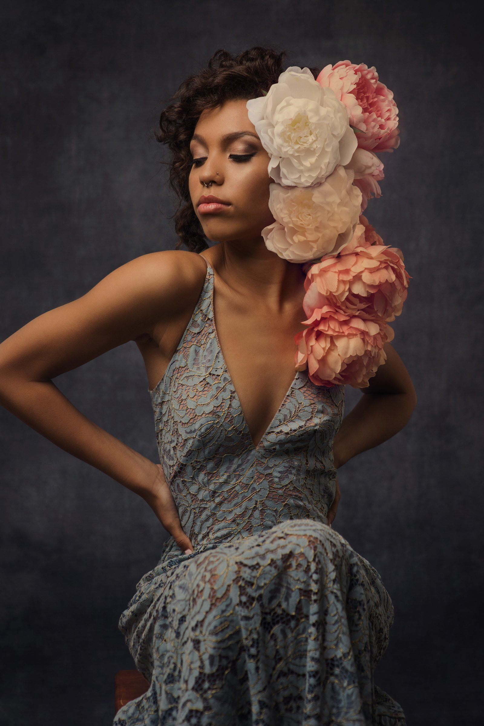 Senior girl with large flowers in her hair