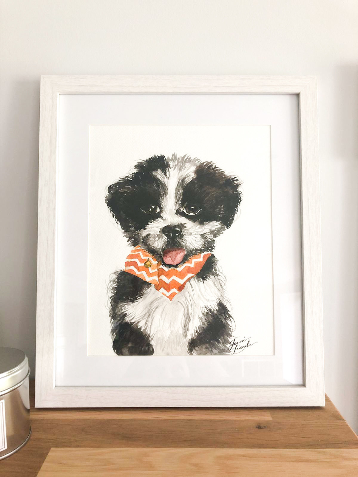 Dog painting in watercolour gift