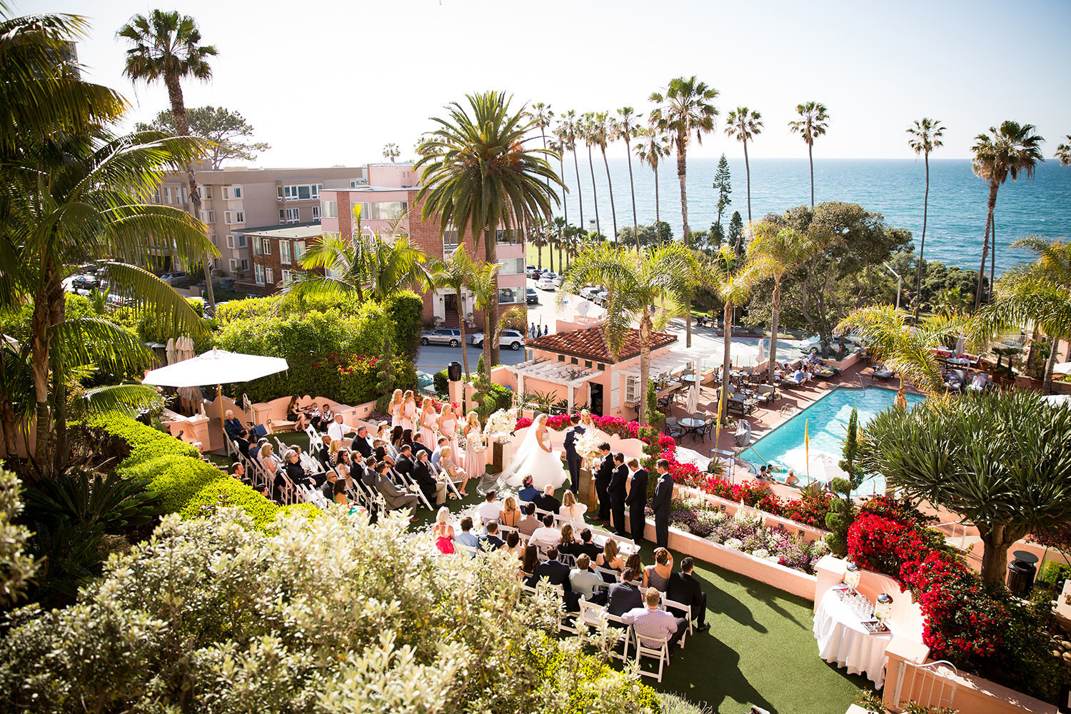 Breathtaking view of the wedding ceremony at La Valencia