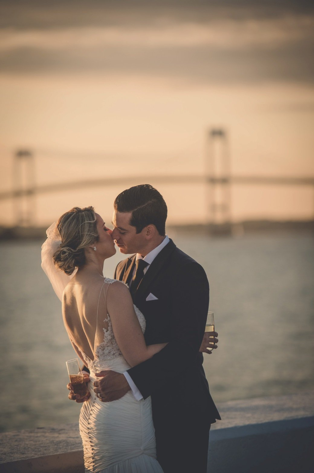 Sunset bridal portraits at Belle Mer in Newport, RI
