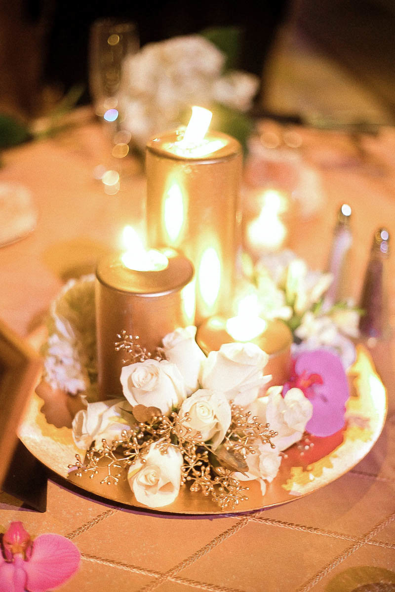 Gold candles lit on reception table made by Offshoots Decor, The Patio at Archmere Academy, Hockessin, Delaware