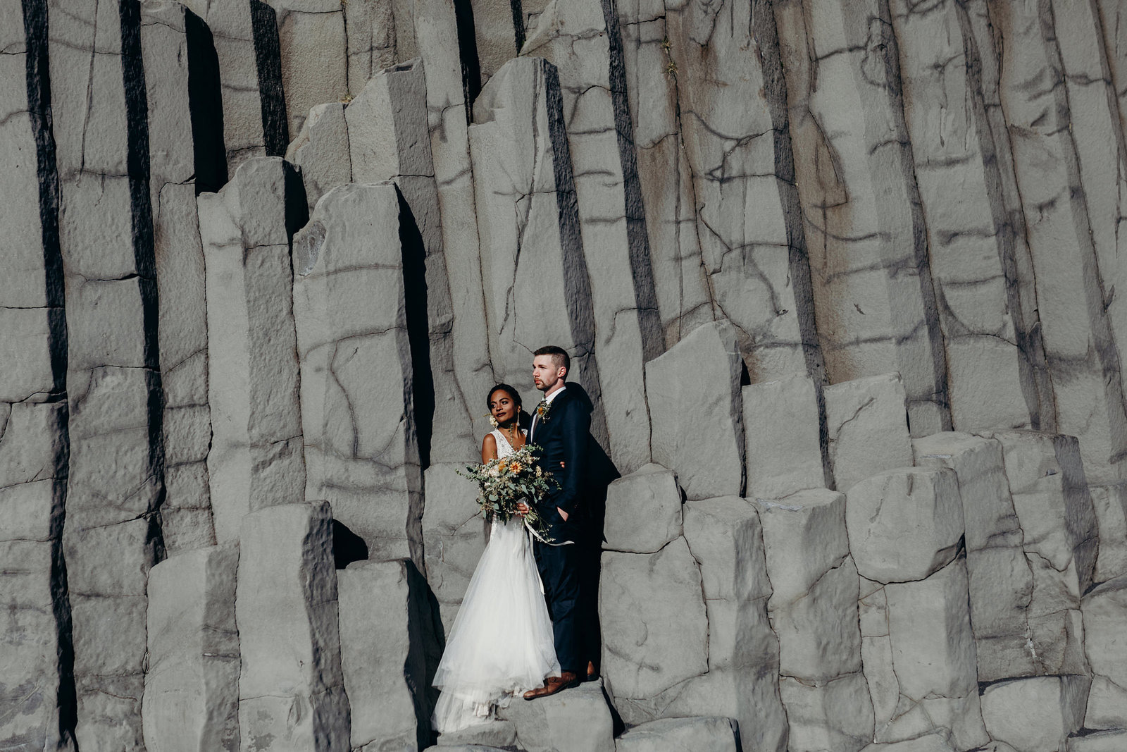 intimate interracial iceland elopement black sand beach moth and moonlite photography