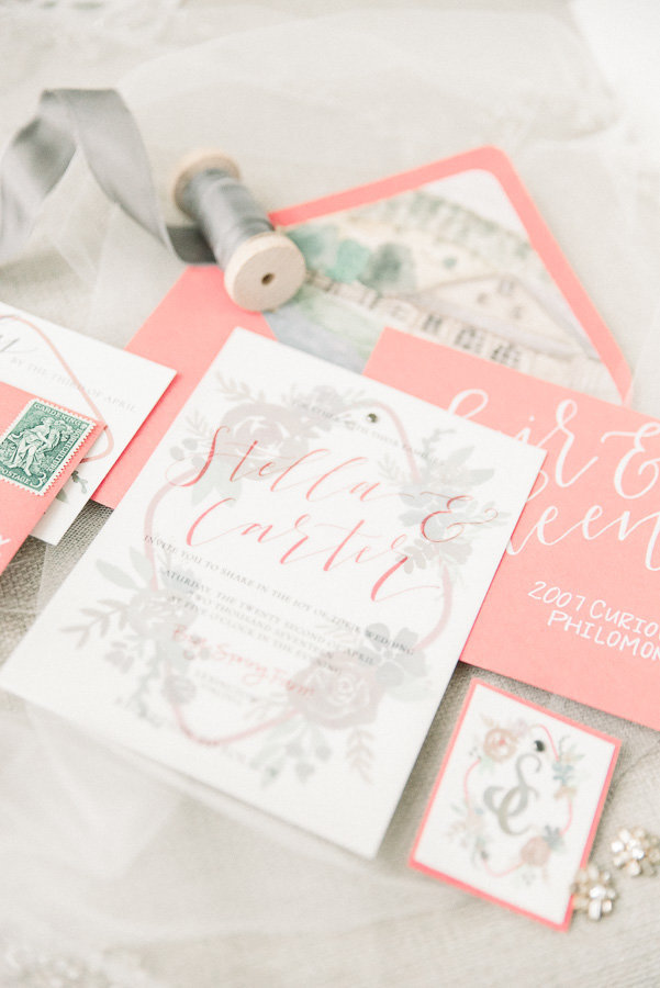 Richmond Virginia Wedding Photo of Coral Wedding Invitation Stationary Set | Tucson Wedding Photographer | West End Photography